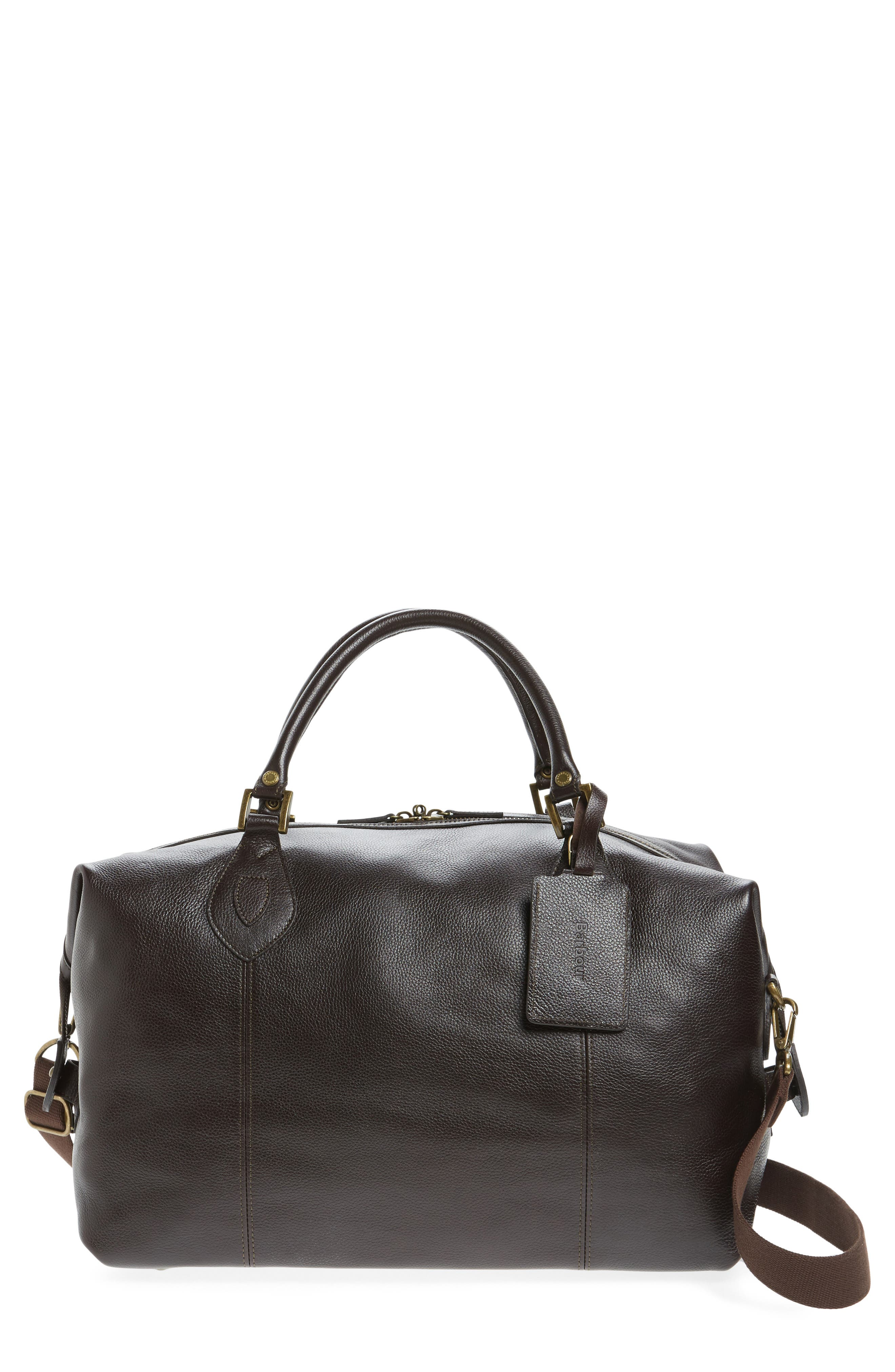 Leather Travel Bag,                         Main,                         color, Chocolate