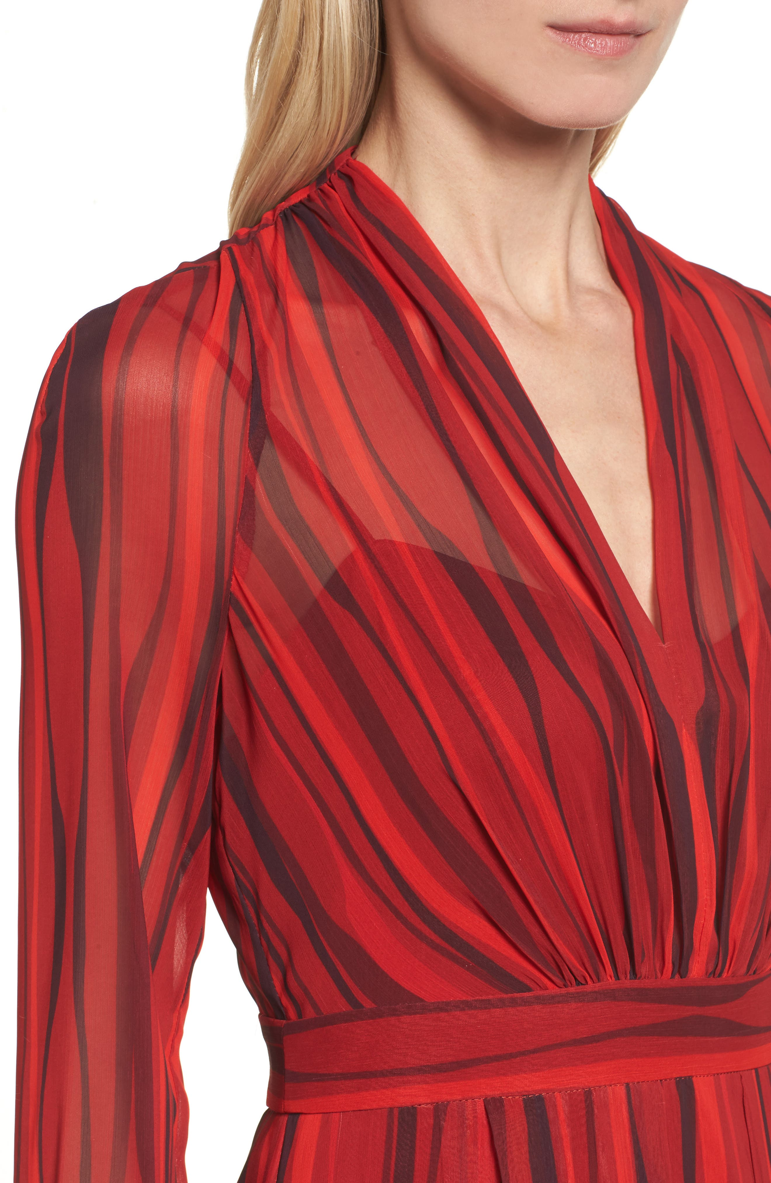 Fit & Flare Dress,                             Alternate thumbnail 4, color,                             Titian Red/ Black Combo