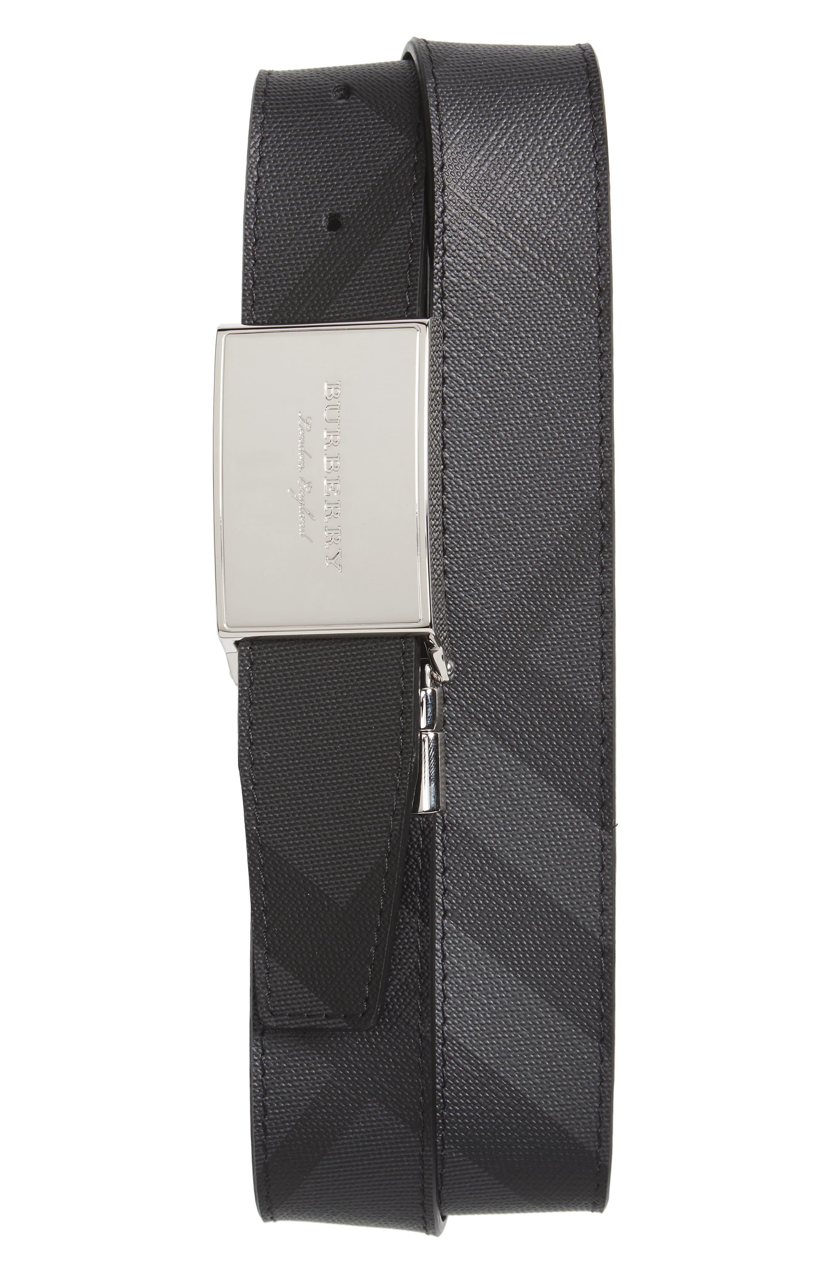 London Check George Reversible Belt,                             Main thumbnail 1, color,                             Charcoal/ Black