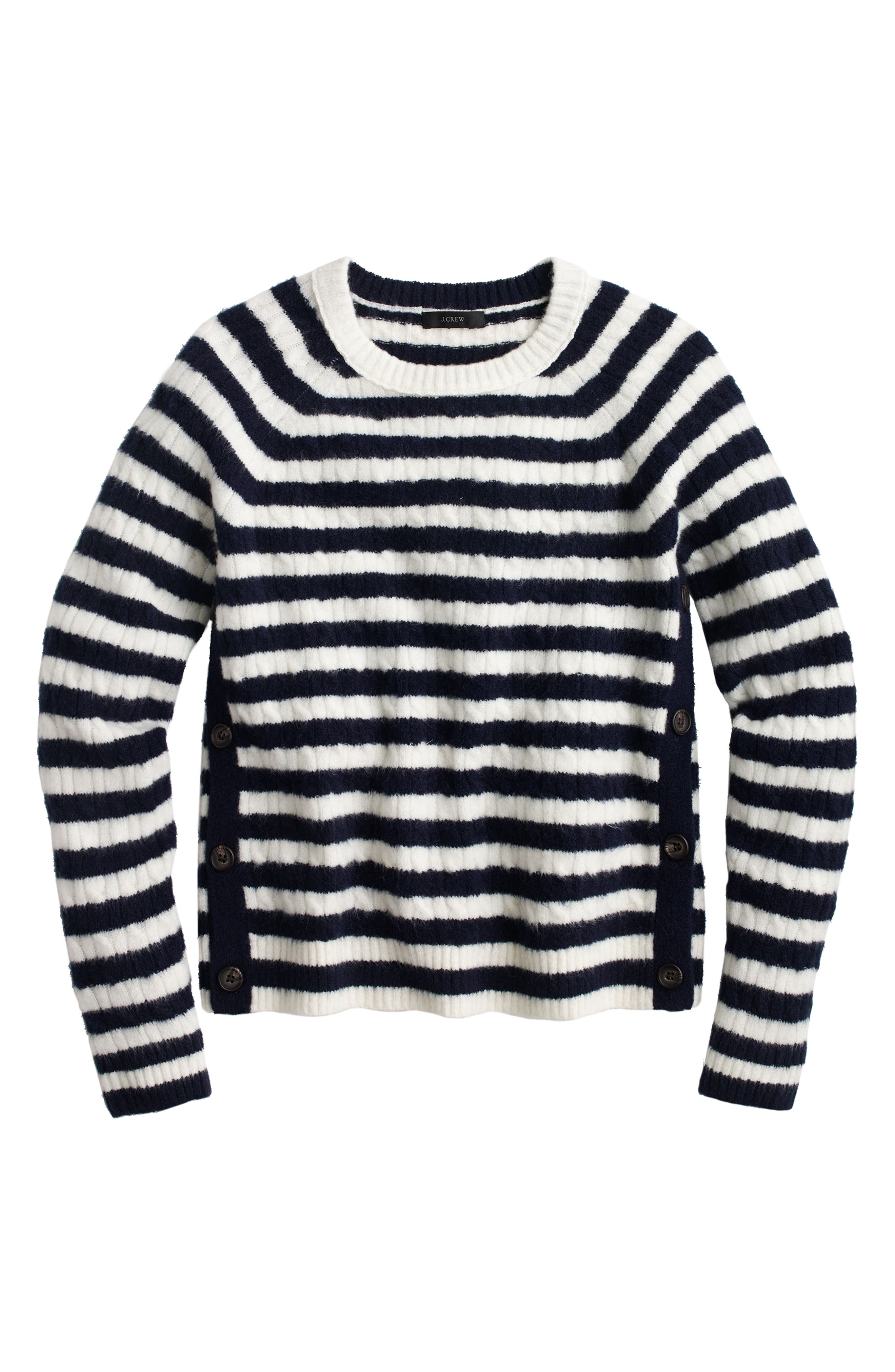J.Crew Stripe Cable Knit Sweater with Buttons,                             Alternate thumbnail 3, color,                             Navy Natural