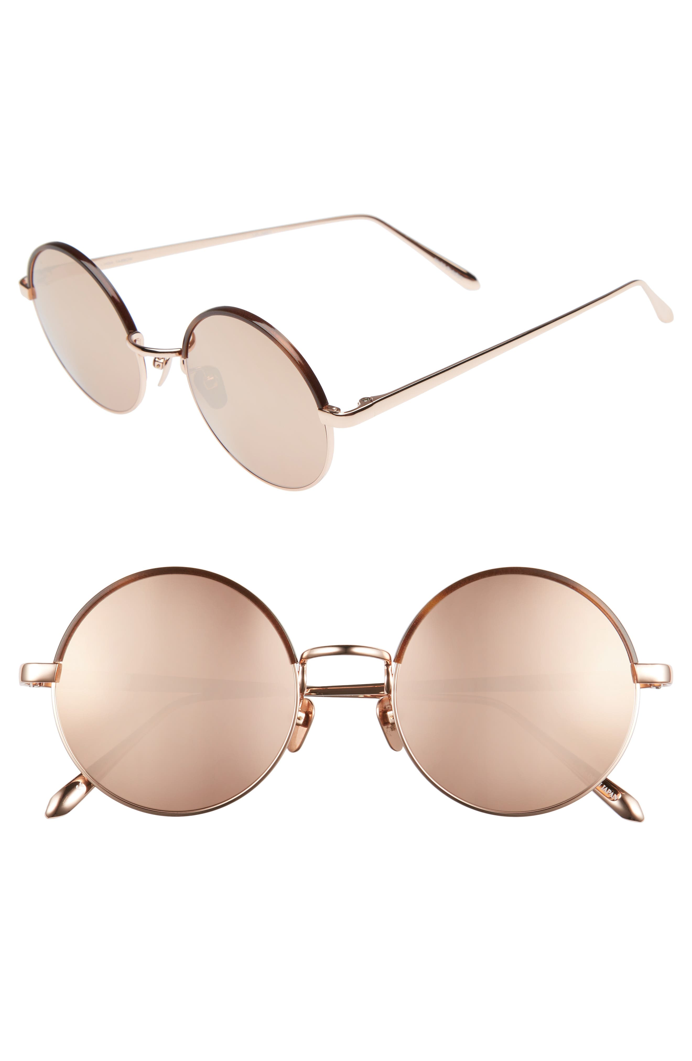 Alternate Image 1 Selected - Linda Farrow 51mm Mirrored 18 Karat Gold Trim Round Sunglasses