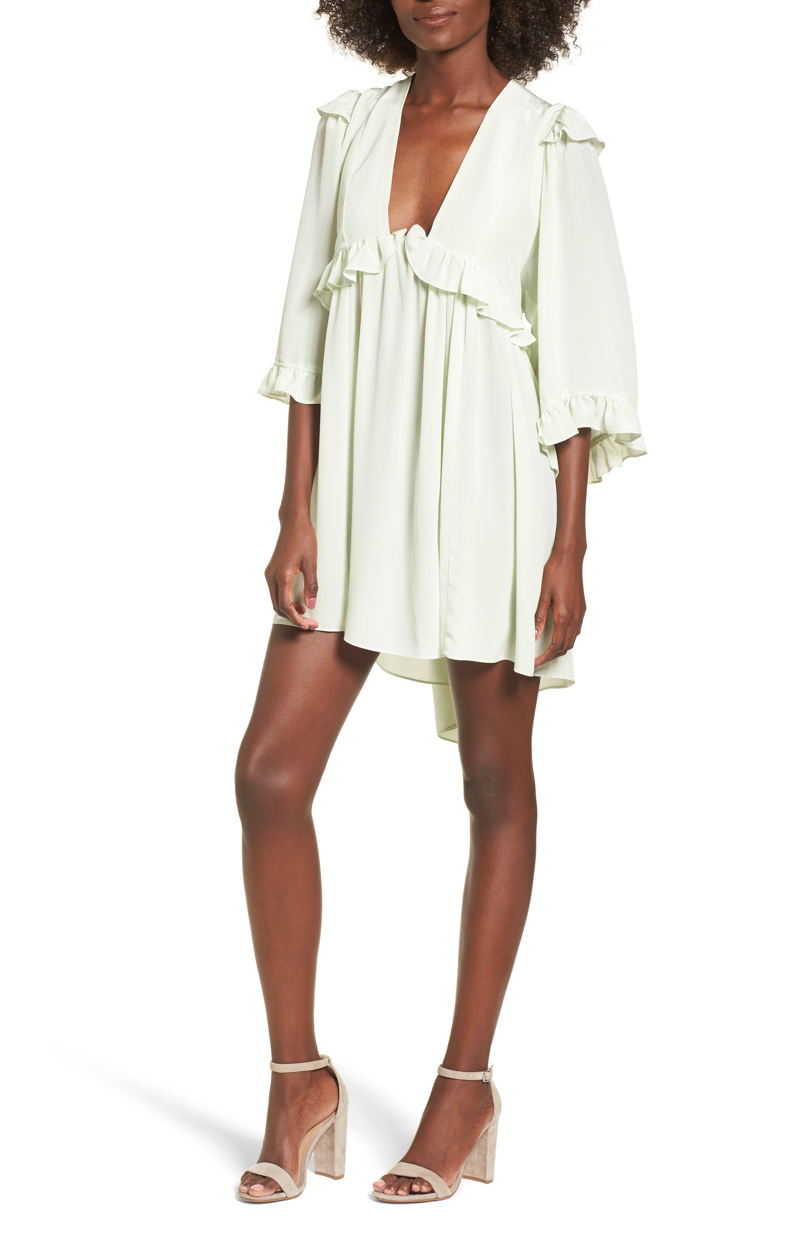 Angeles Babydoll Dress,                             Main thumbnail 1, color,                             Baby Green Silk