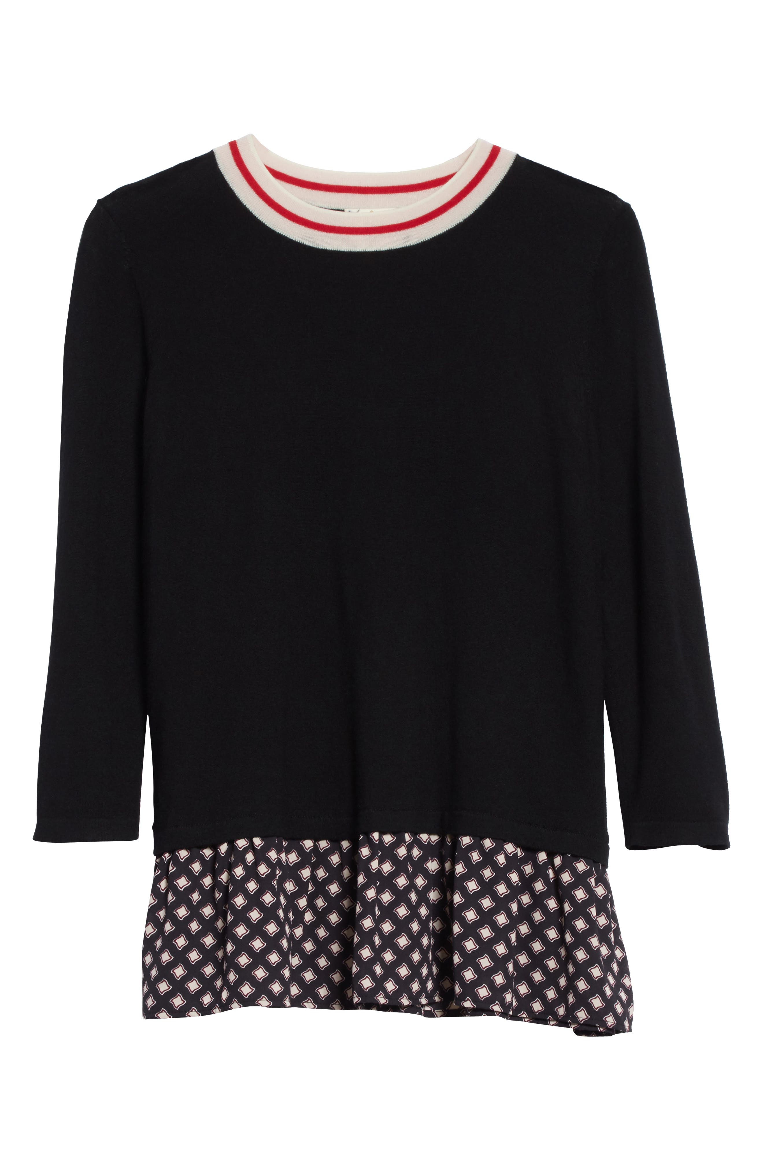 mixed media sweater,                             Alternate thumbnail 6, color,                             Black