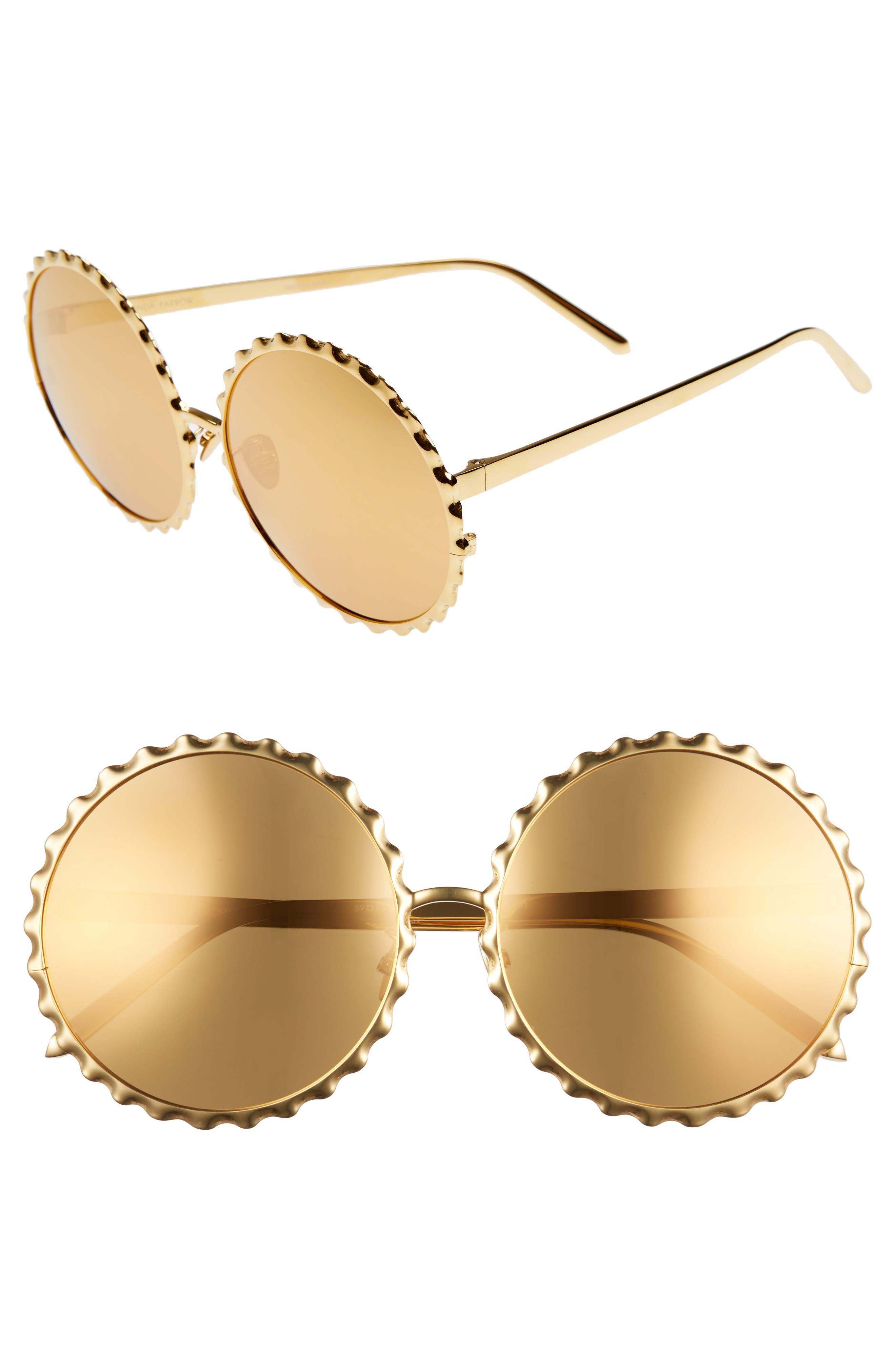 Main Image - Linda Farrow 59mm Mirrored 18 Karat Gold Trim Round Sunglasses