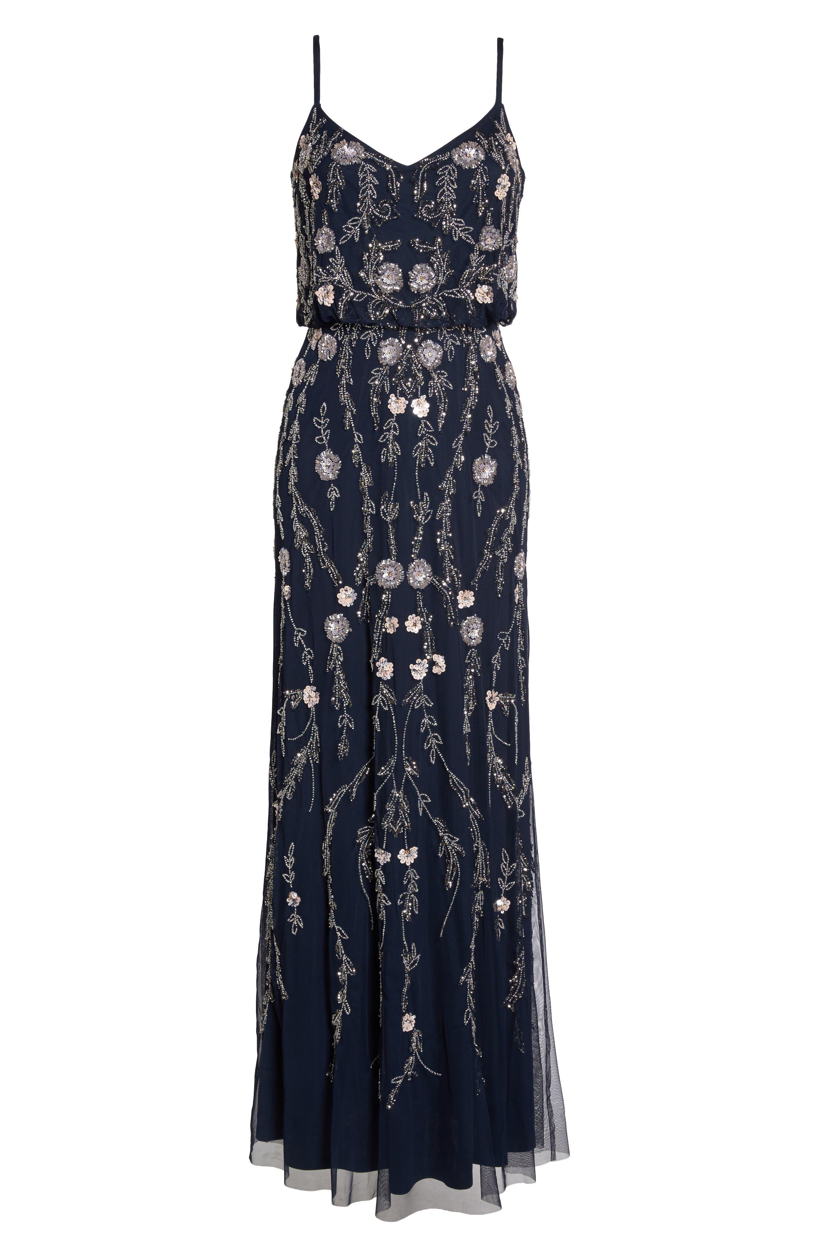 Alternate Image 6  - Adrianna Papell Mesh Blouson Gown (Regular & Petite)