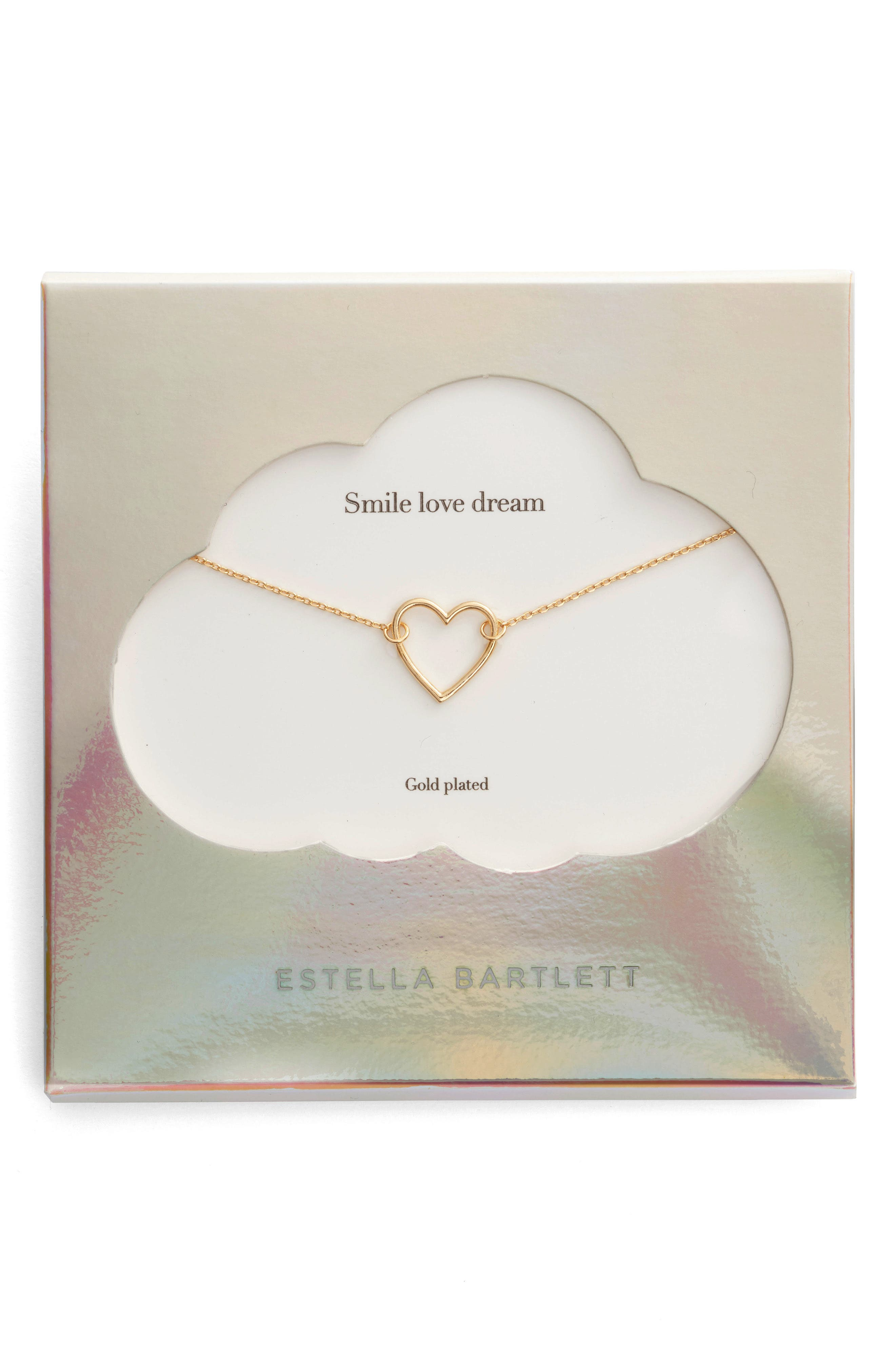 Smile Dream Love Open Heart Necklace,                             Main thumbnail 1, color,                             Gold