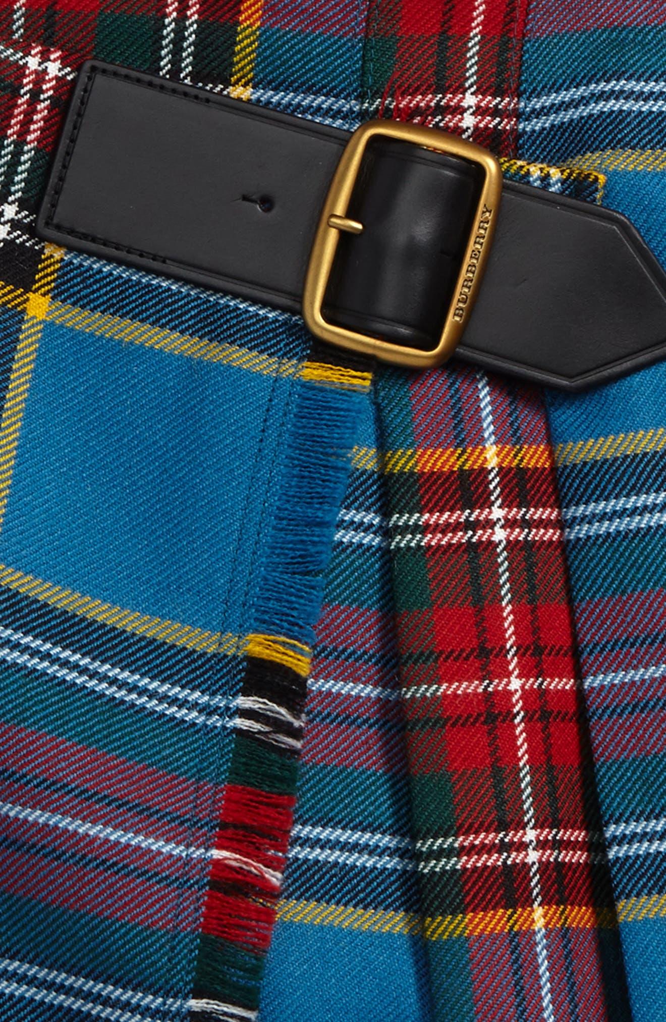 Klorrie Plaid Wool Miniskirt,                             Alternate thumbnail 2, color,                             Cyan Blue