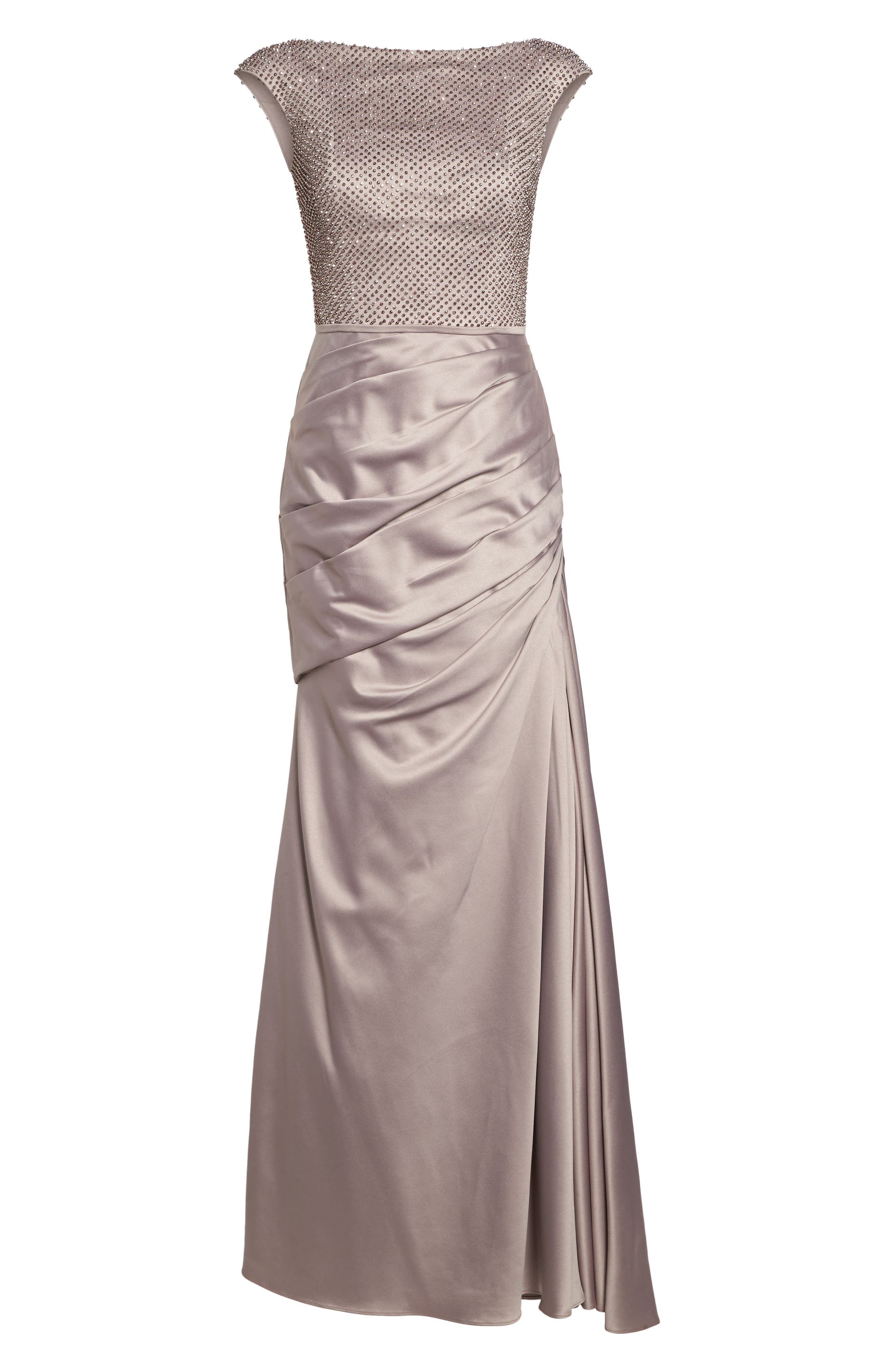 Embellished Bodice Trumpet Gown,                             Alternate thumbnail 6, color,                             Champagne