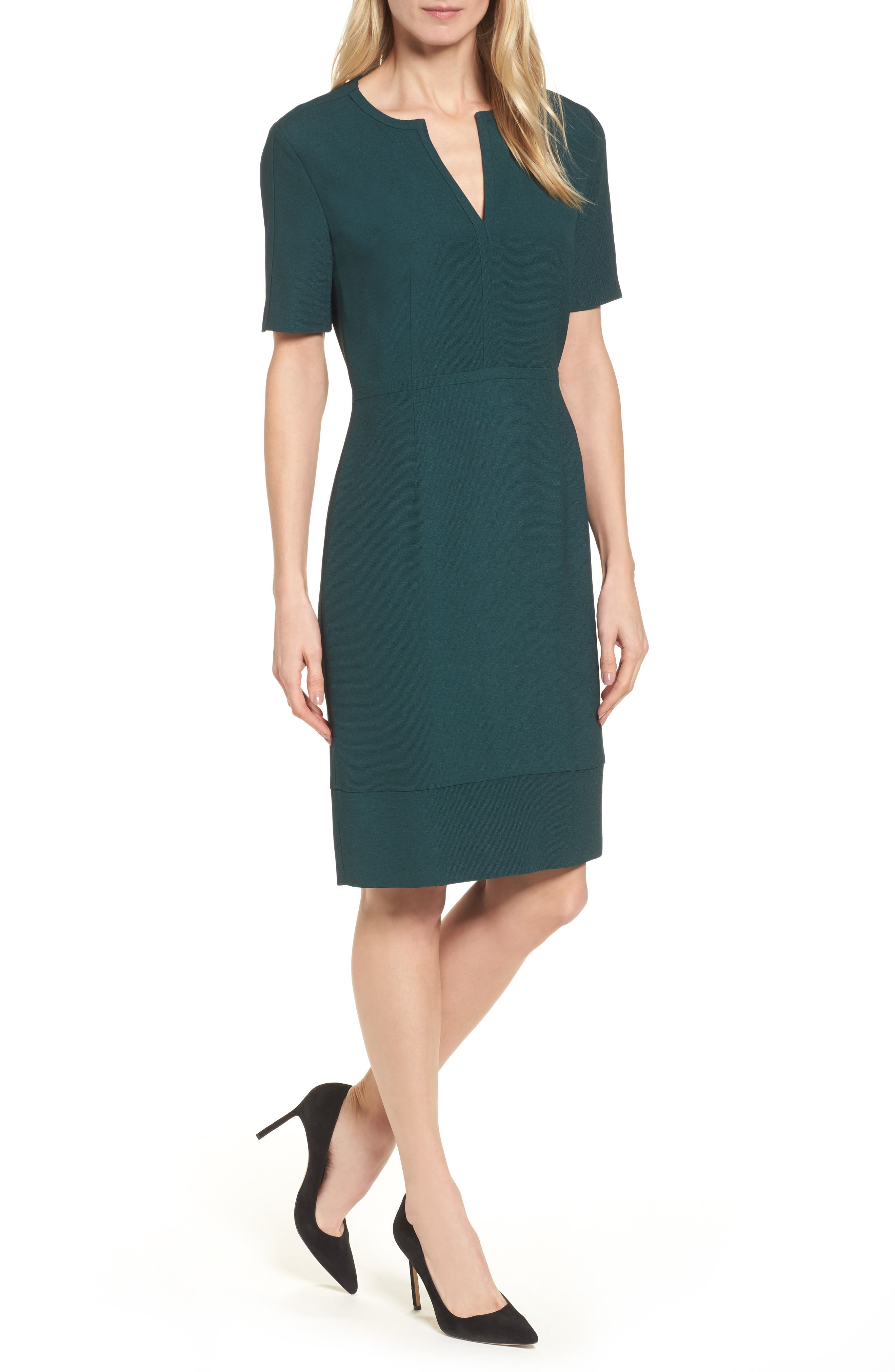 Dalesana Sheath Dress,                         Main,                         color, Peacock Green