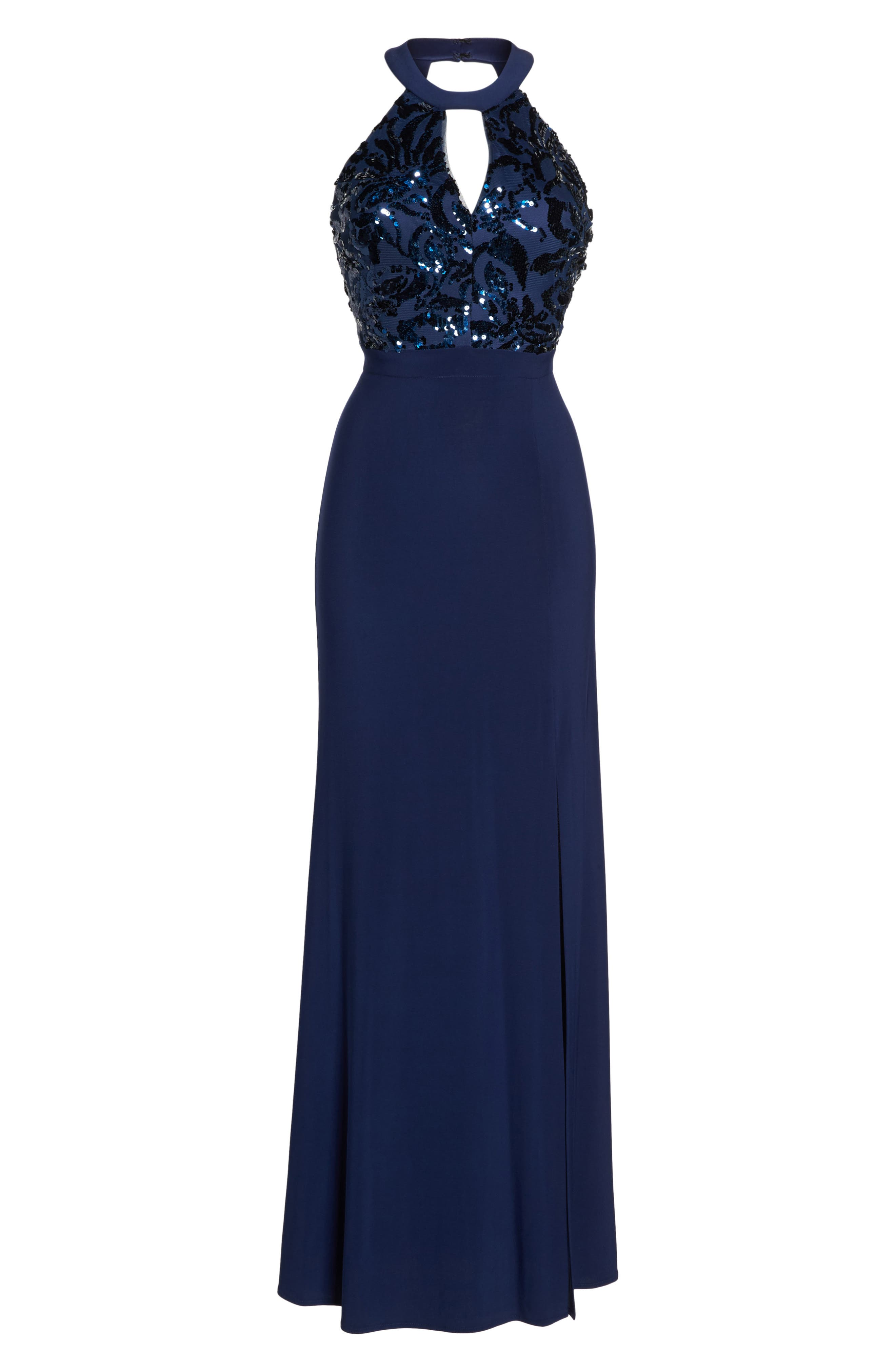 Alternate Image 6  - Morgan & Co. Sequin Halter Neck Gown
