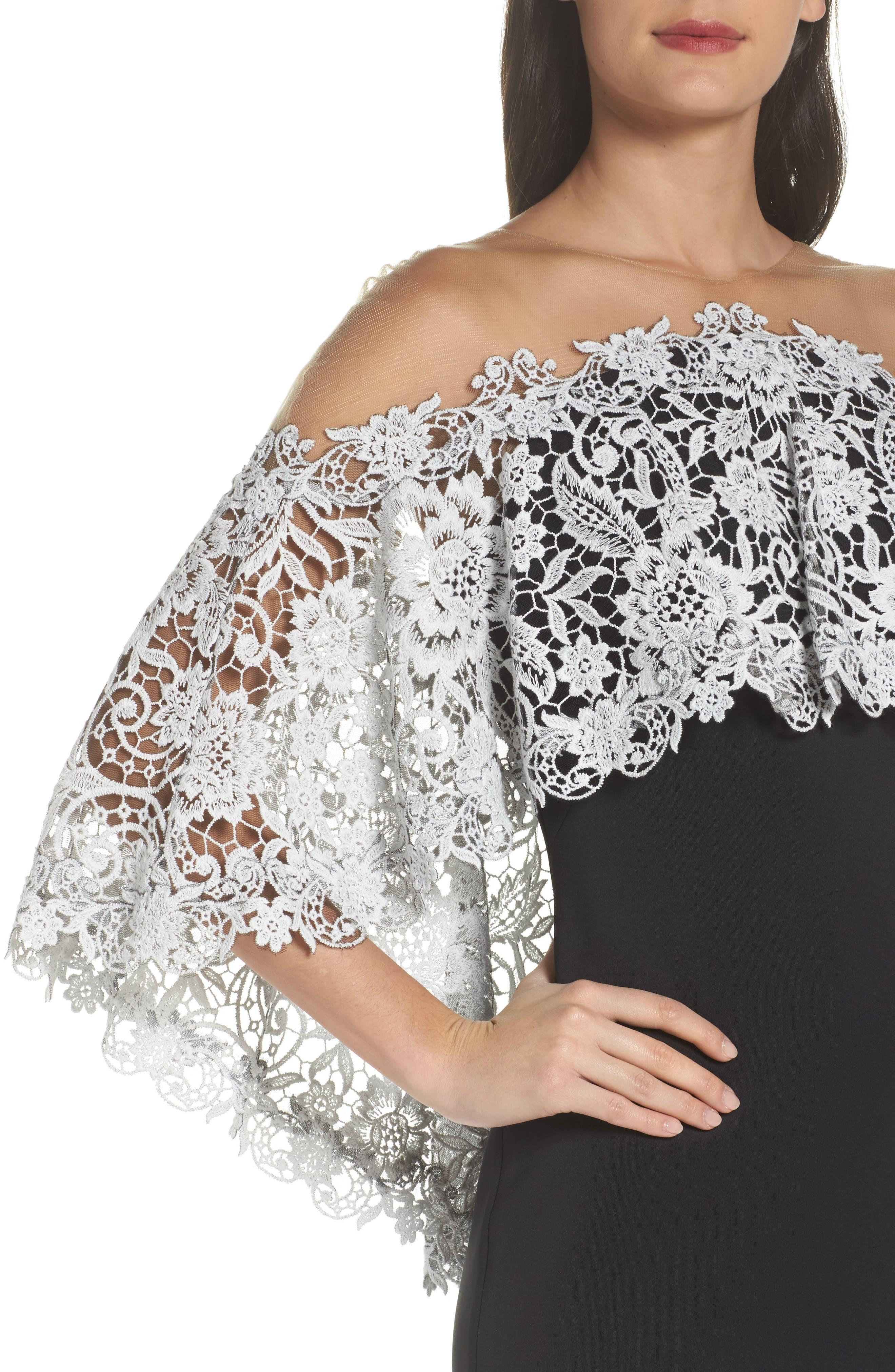 Illusion Neck Cape Dress,                             Alternate thumbnail 4, color,                             Black/ Ivory