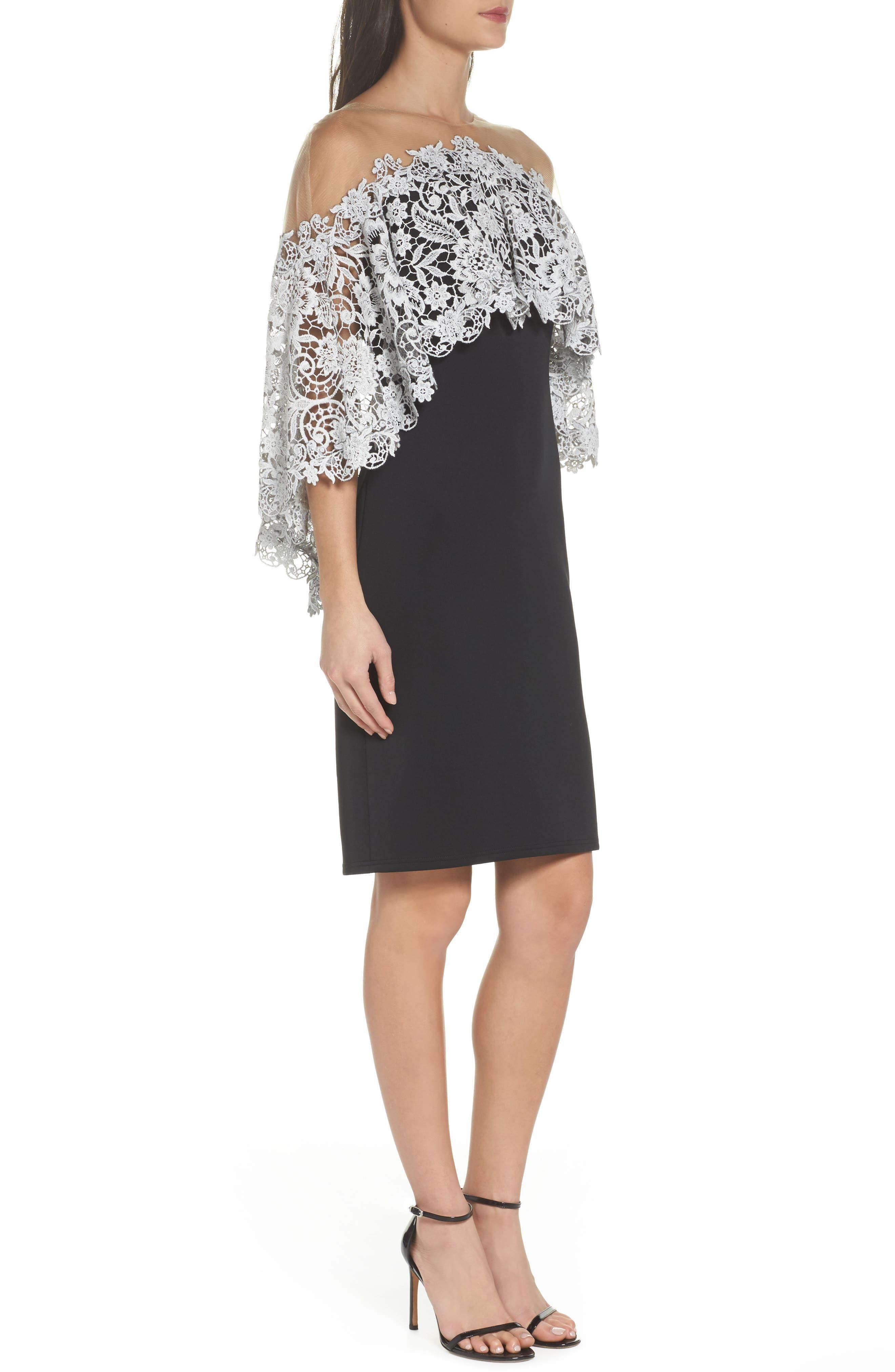 Illusion Neck Cape Dress,                             Alternate thumbnail 3, color,                             Black/ Ivory