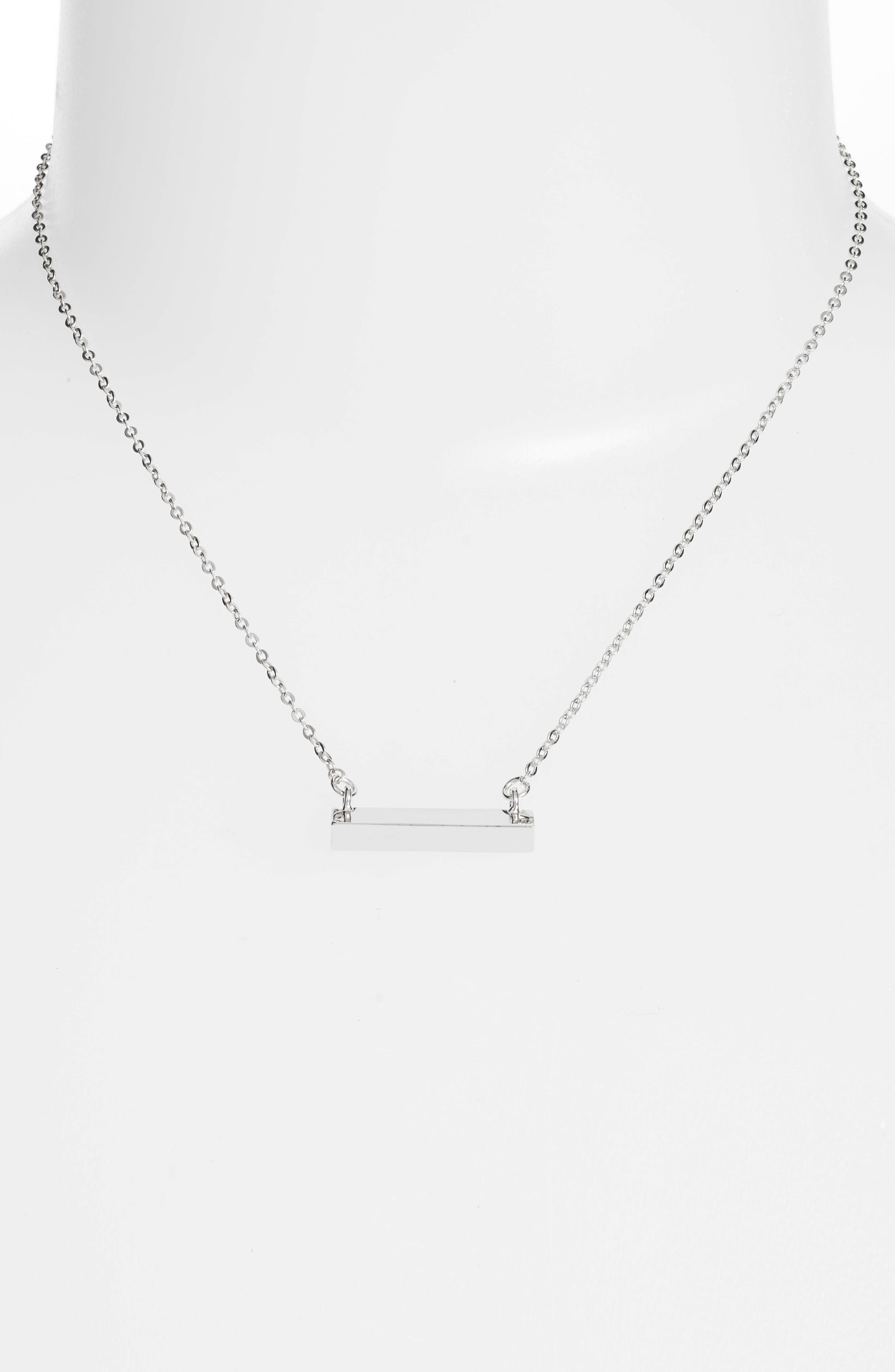 Triangle Shaped Bar Pendant Necklace,                             Alternate thumbnail 2, color,                             Silver