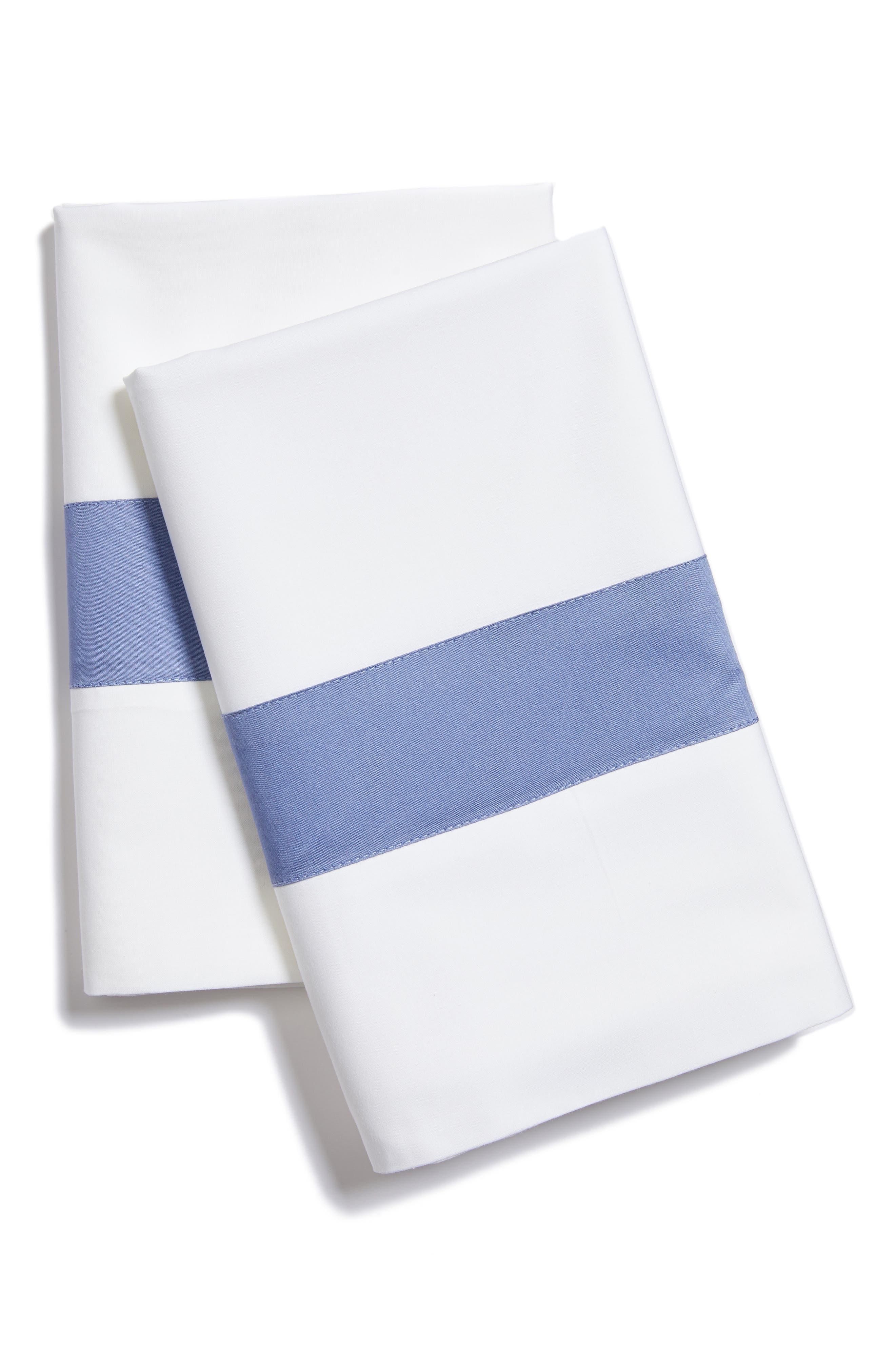 Orlo Pillowcase,                             Main thumbnail 1, color,                             White/ Cornflower