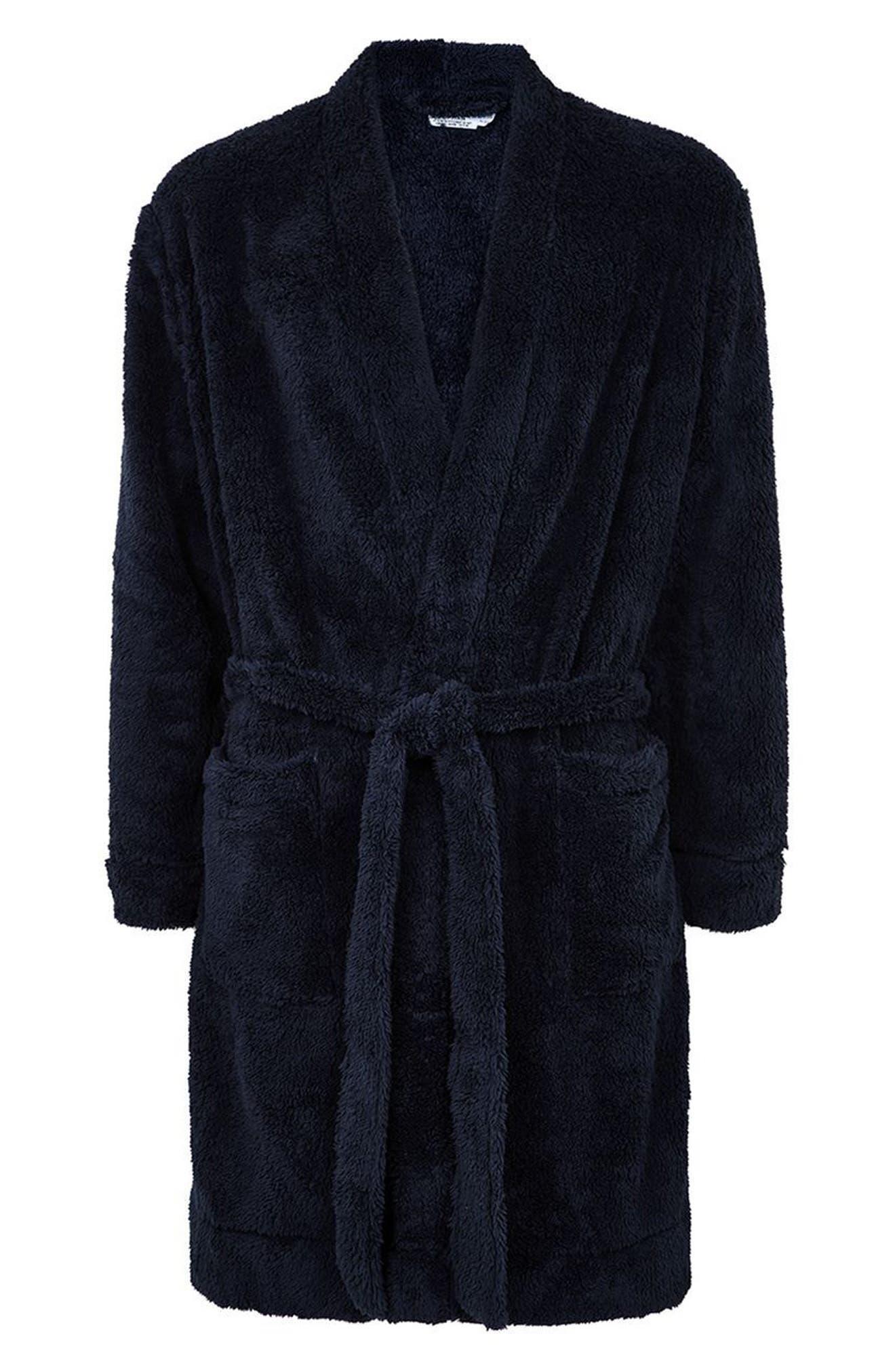 Fleece Robe,                             Alternate thumbnail 4, color,                             Dark Blue