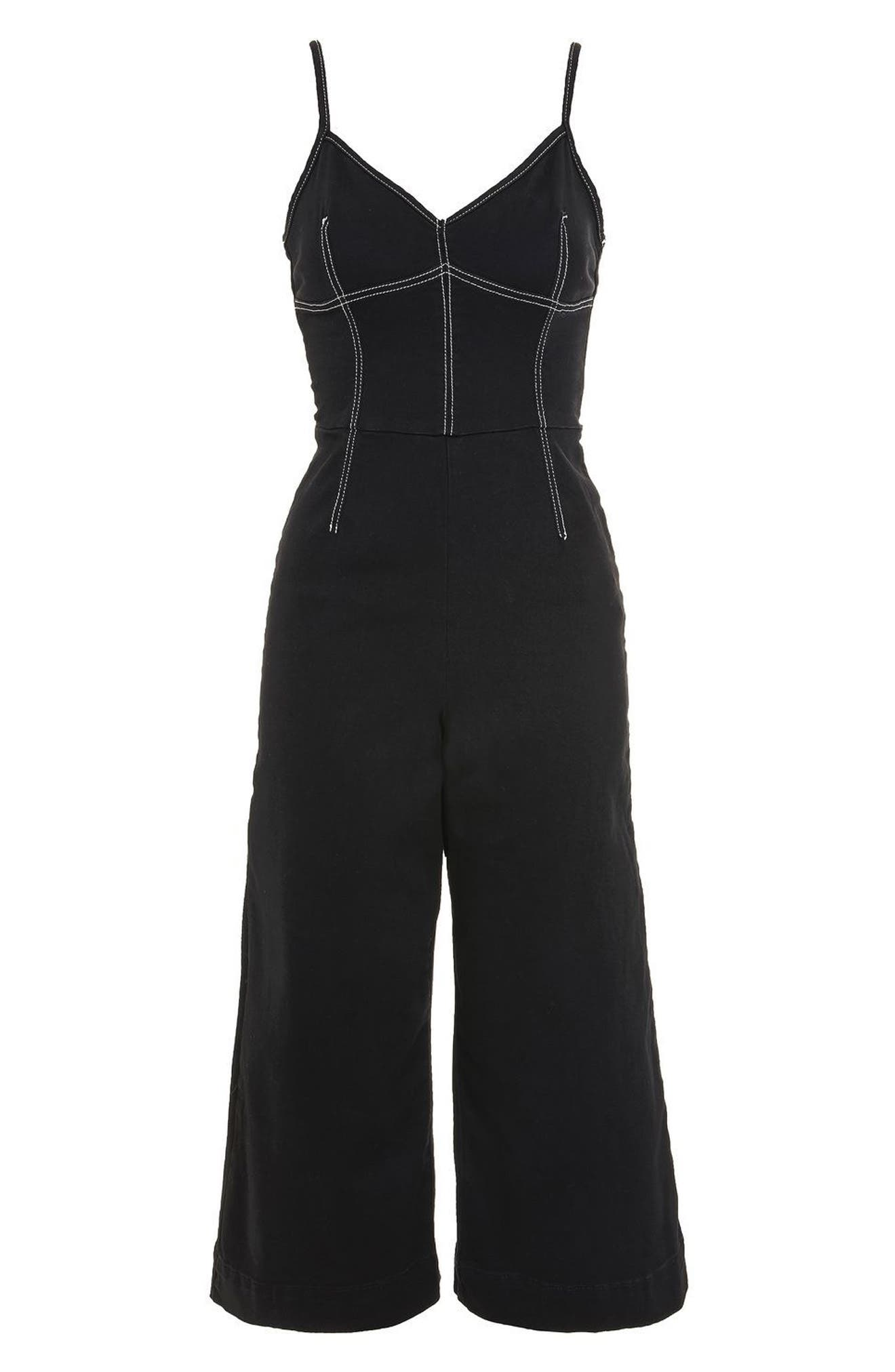 Contrast Stitch Jumpsuit,                             Alternate thumbnail 5, color,                             Black