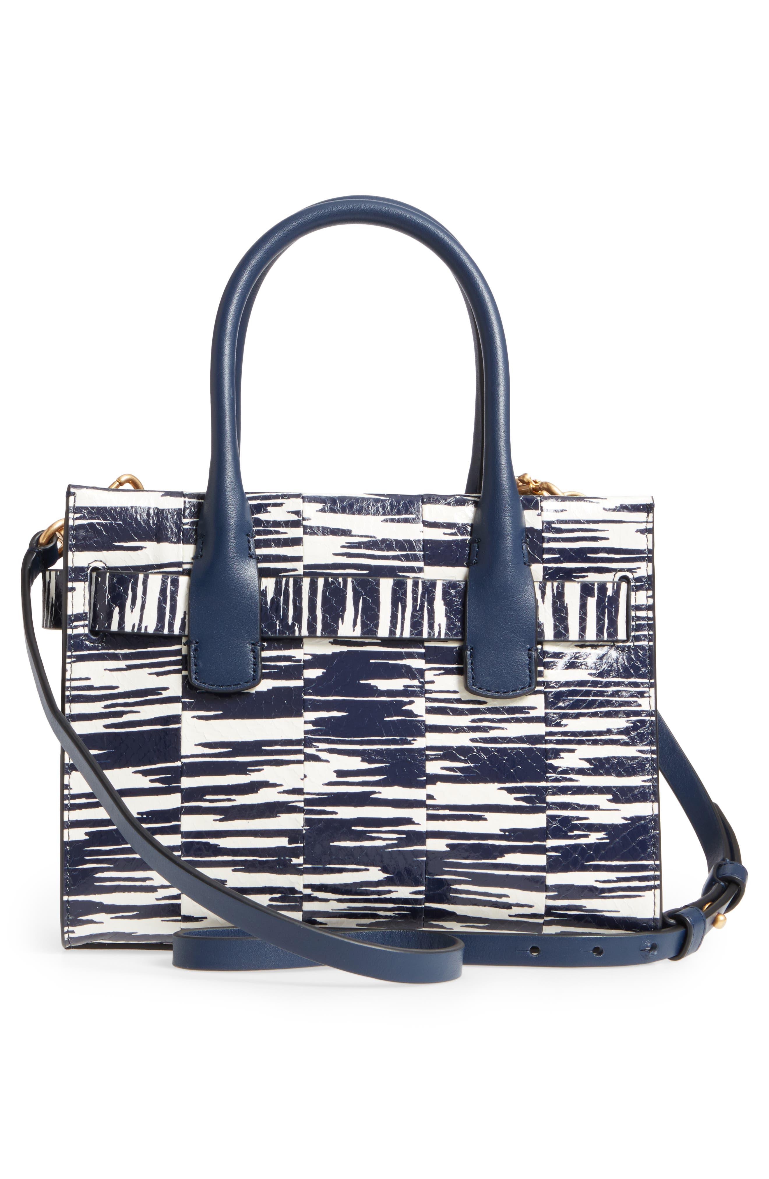 Small Gemini Link Space Dye Genuine Snakeskin Tote,                             Alternate thumbnail 3, color,                             Navy Space Dye