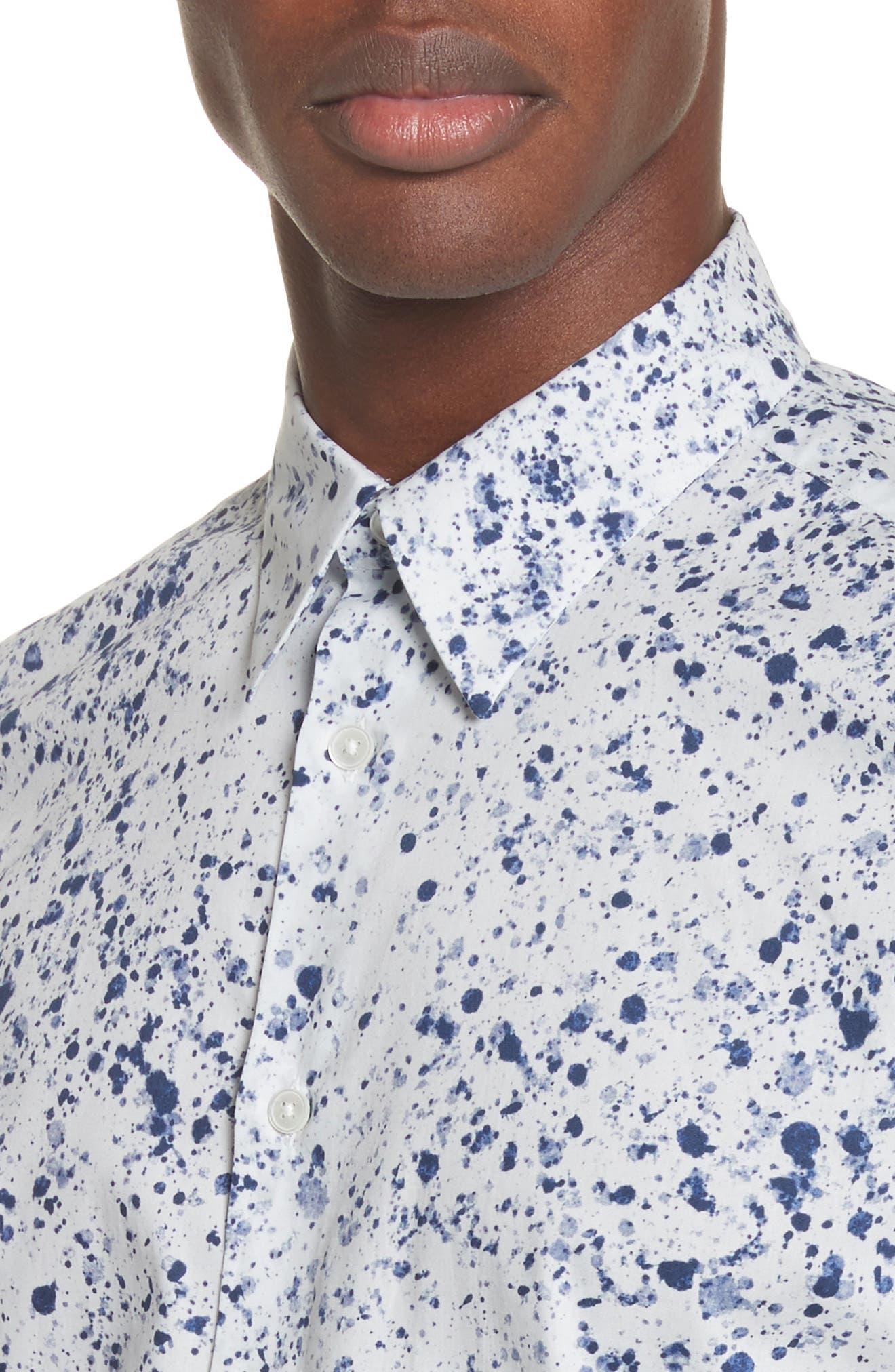 Splatter Print Shirt,                             Alternate thumbnail 2, color,                             White
