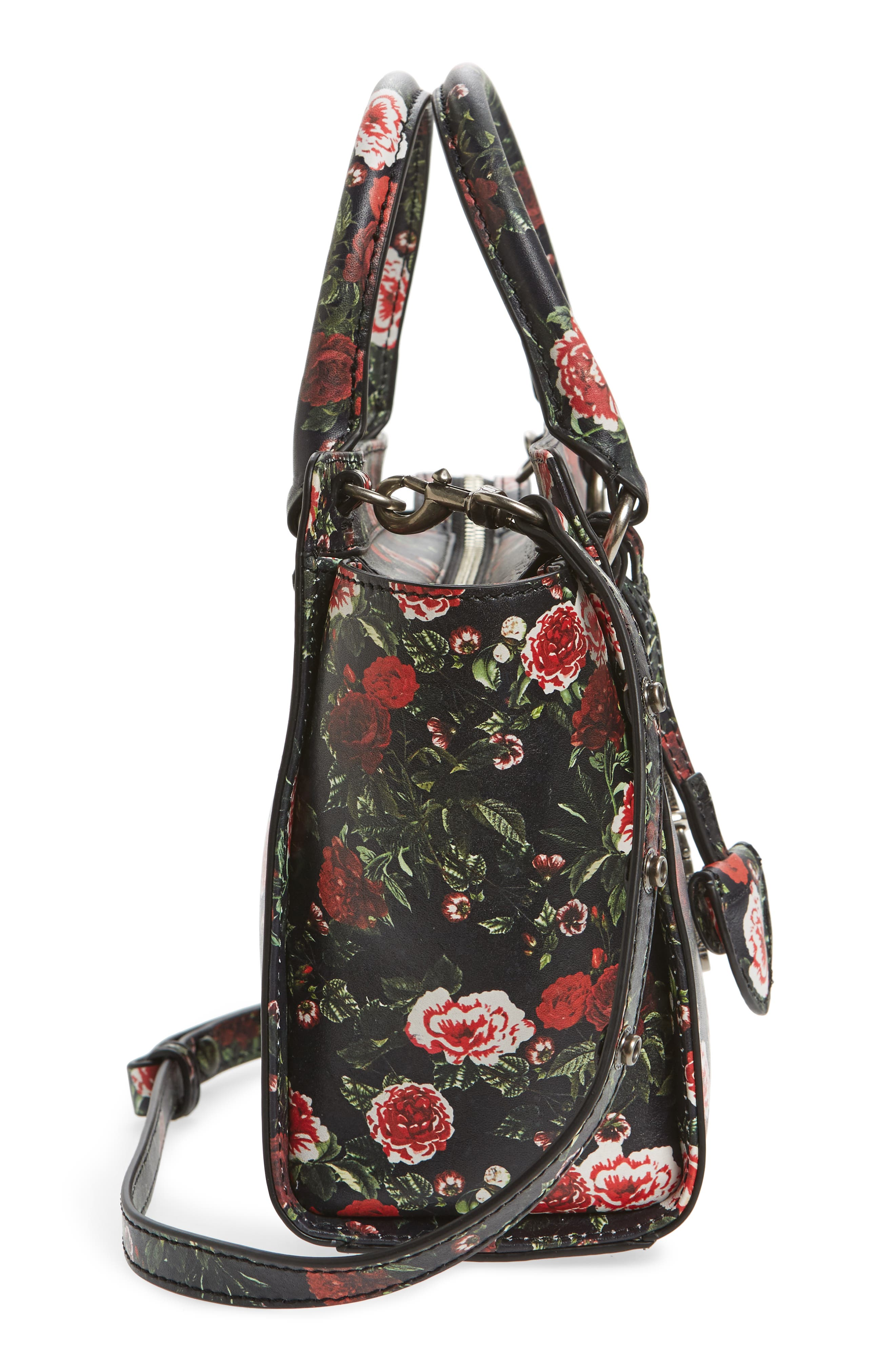 Small Jamie Leather Satchel,                             Alternate thumbnail 5, color,                             Rose Floral