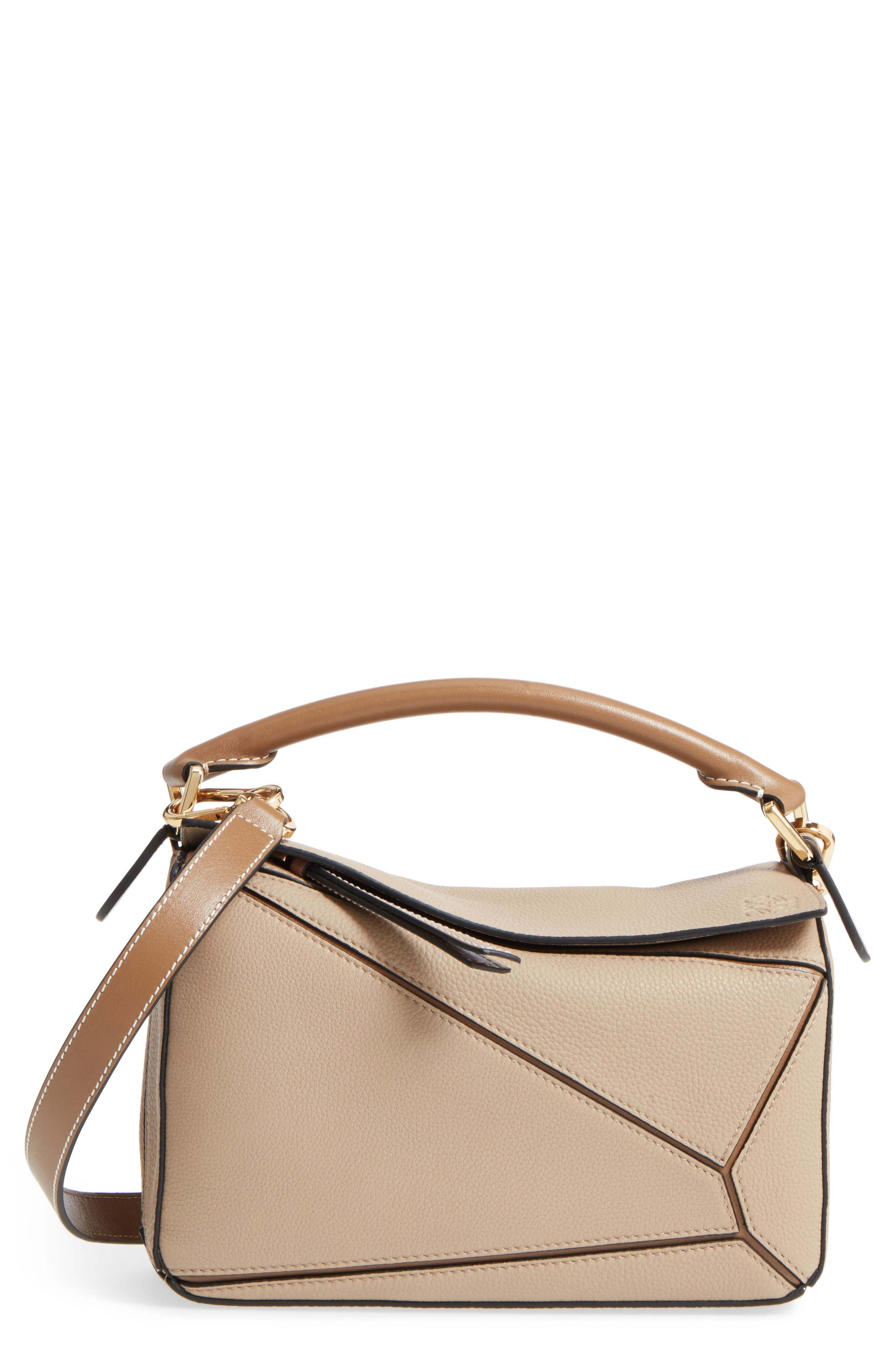 Small Puzzle Leather Bag - Beige in Sand/ Mink