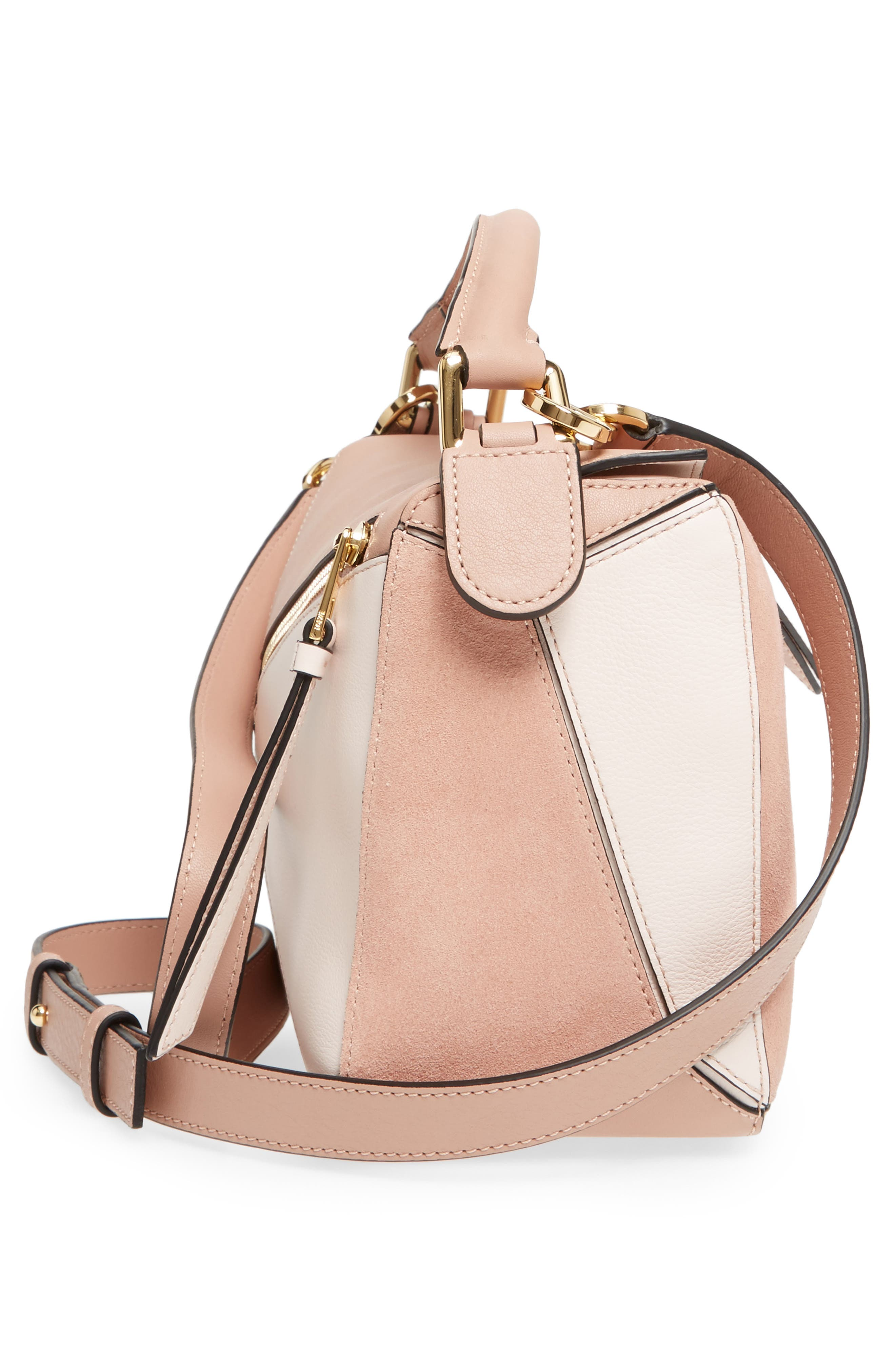 Small Puzzle Bicolor Leather Bag,                             Alternate thumbnail 5, color,                             Blush Multitone