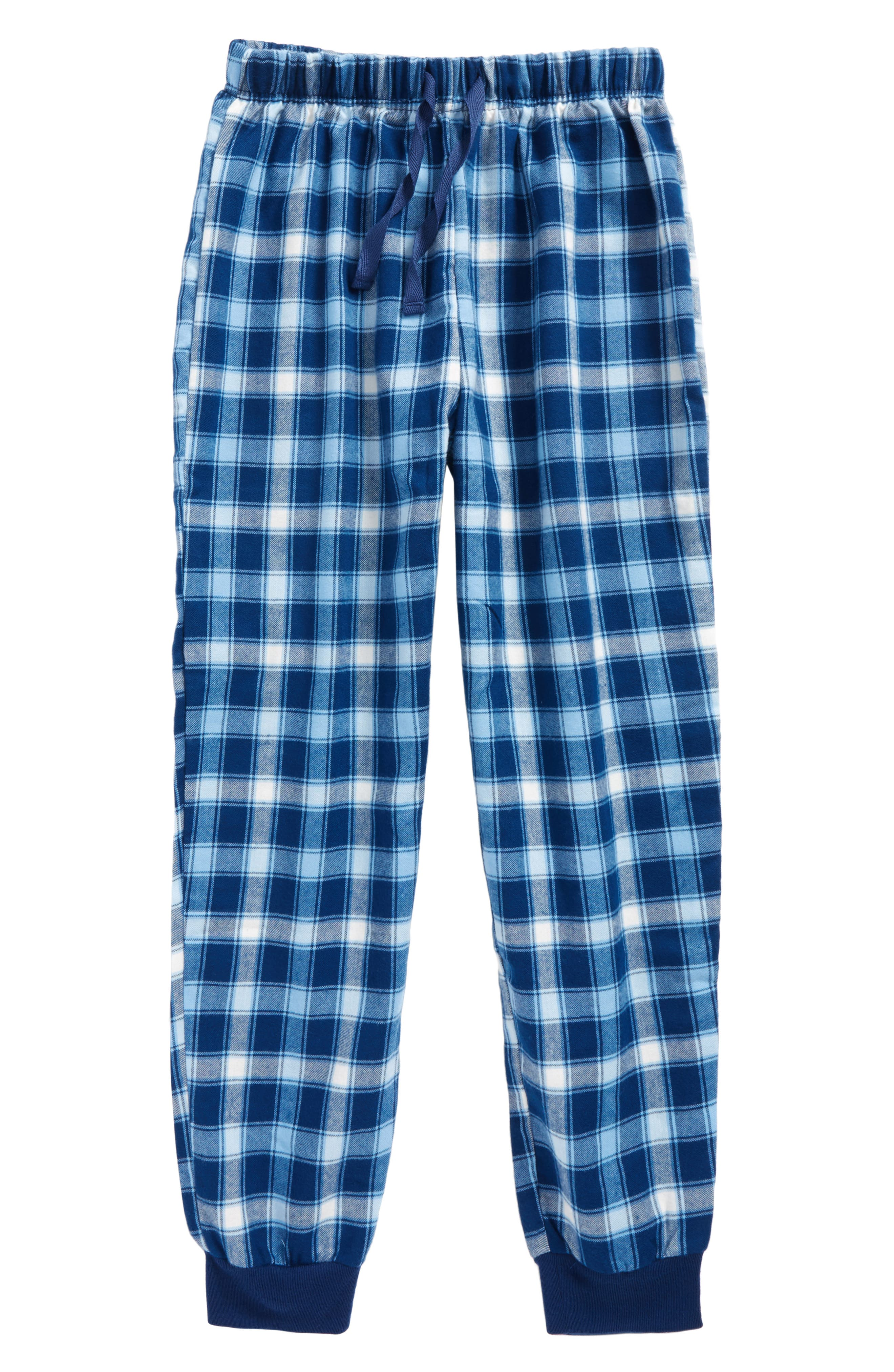 Flannel Jogger Pants,                         Main,                         color, Blue Estate- Ivory