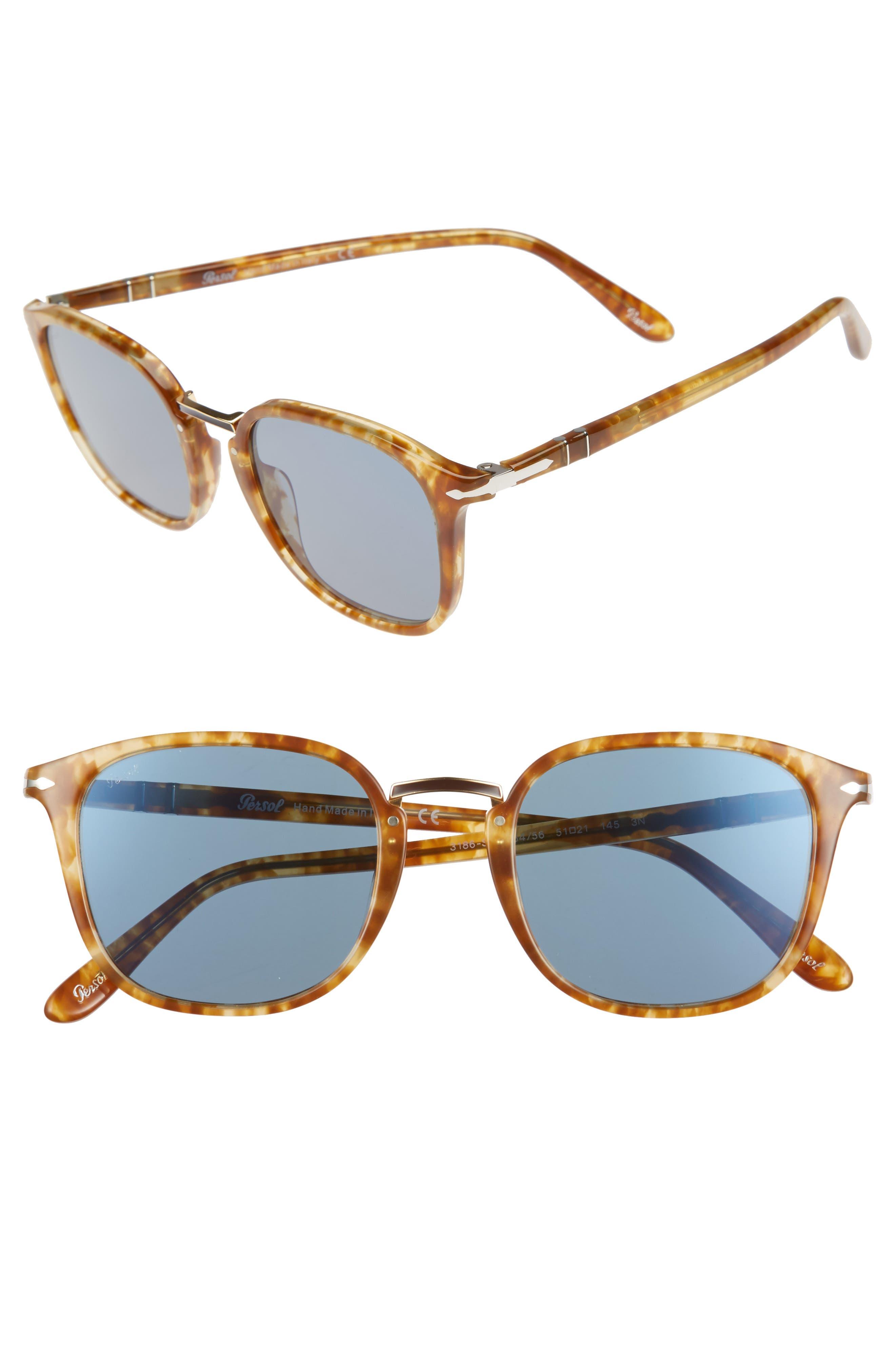 Phantos 51mm Crystal Lens Sunglasses,                             Main thumbnail 1, color,                             Beige Tortoise