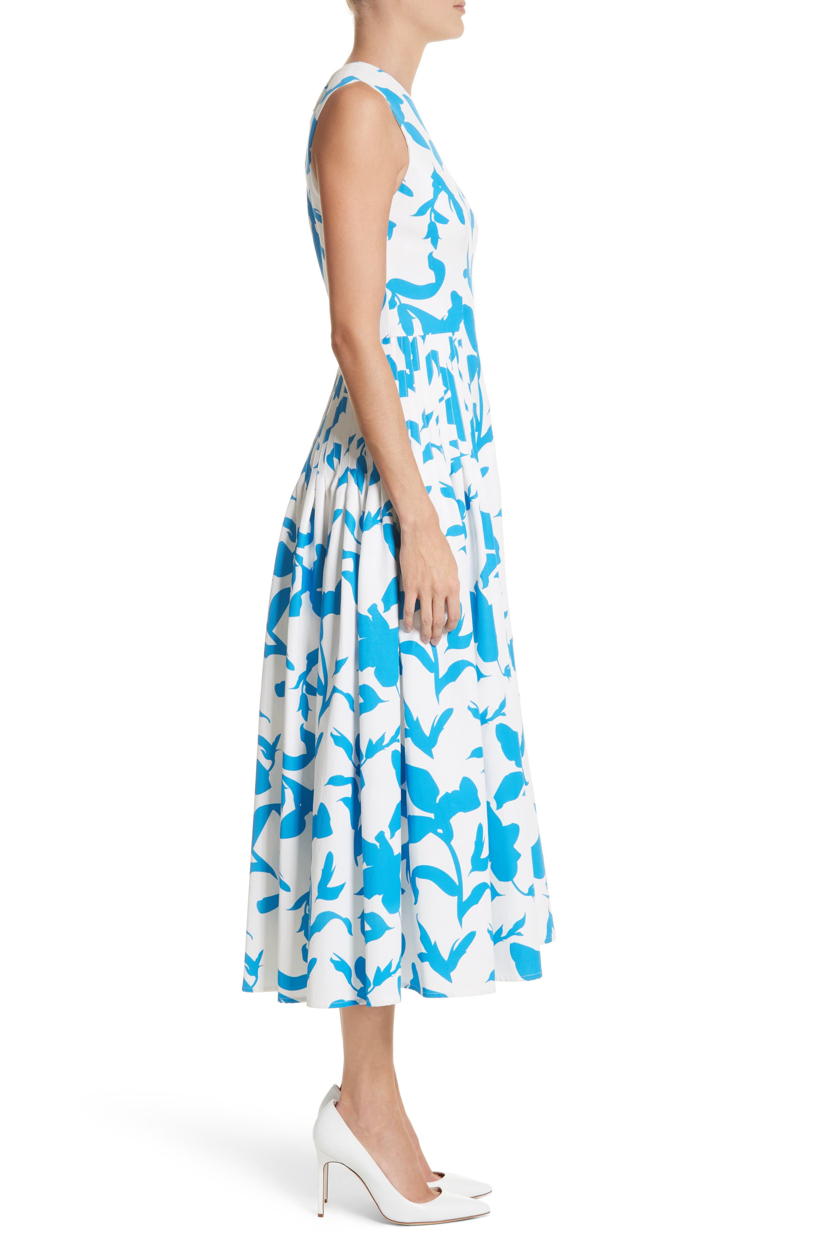 Pleated A-Line Midi Dress,                             Alternate thumbnail 3, color,                             White/ Cerulean