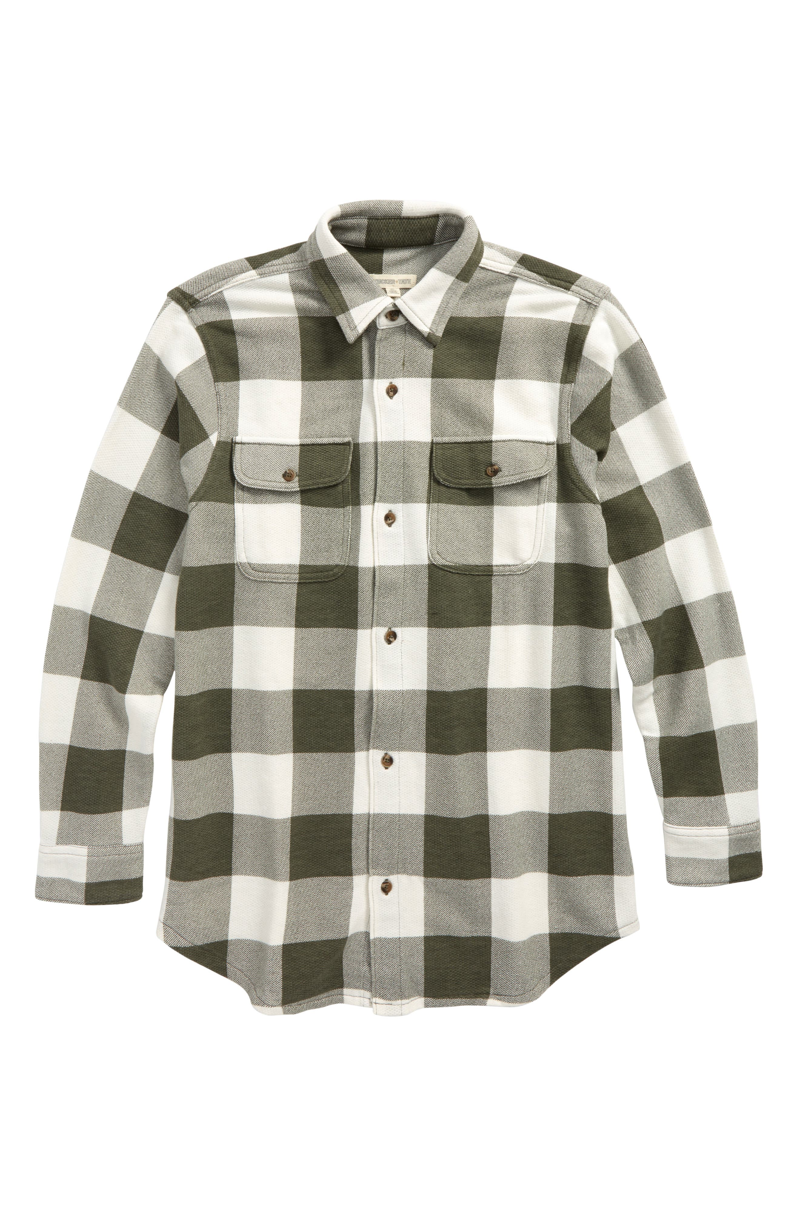 Woven Plaid Shirt,                             Main thumbnail 1, color,                             Olive Sarma- Ivory Check