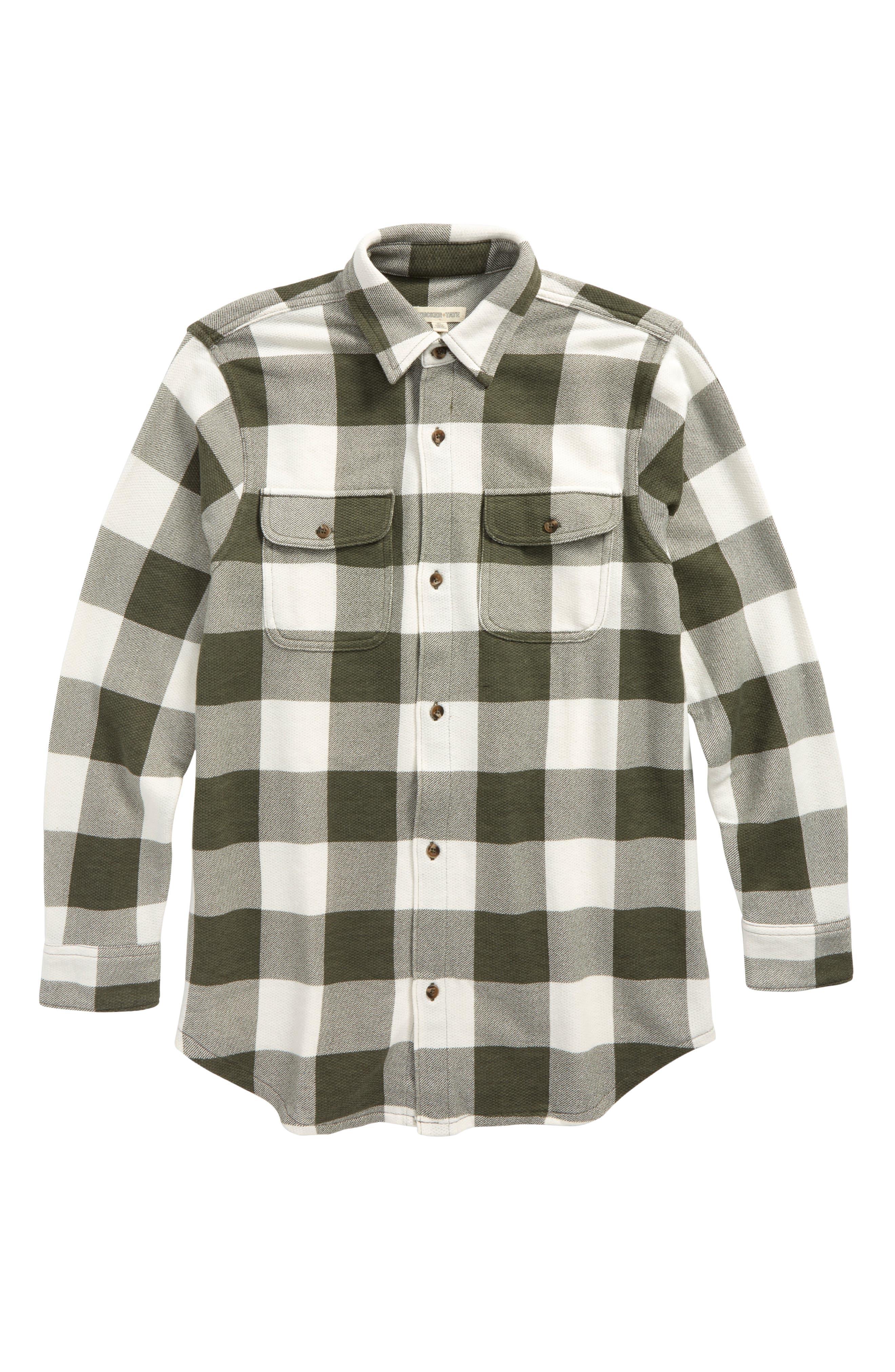 Woven Plaid Shirt,                         Main,                         color, Olive Sarma- Ivory Check