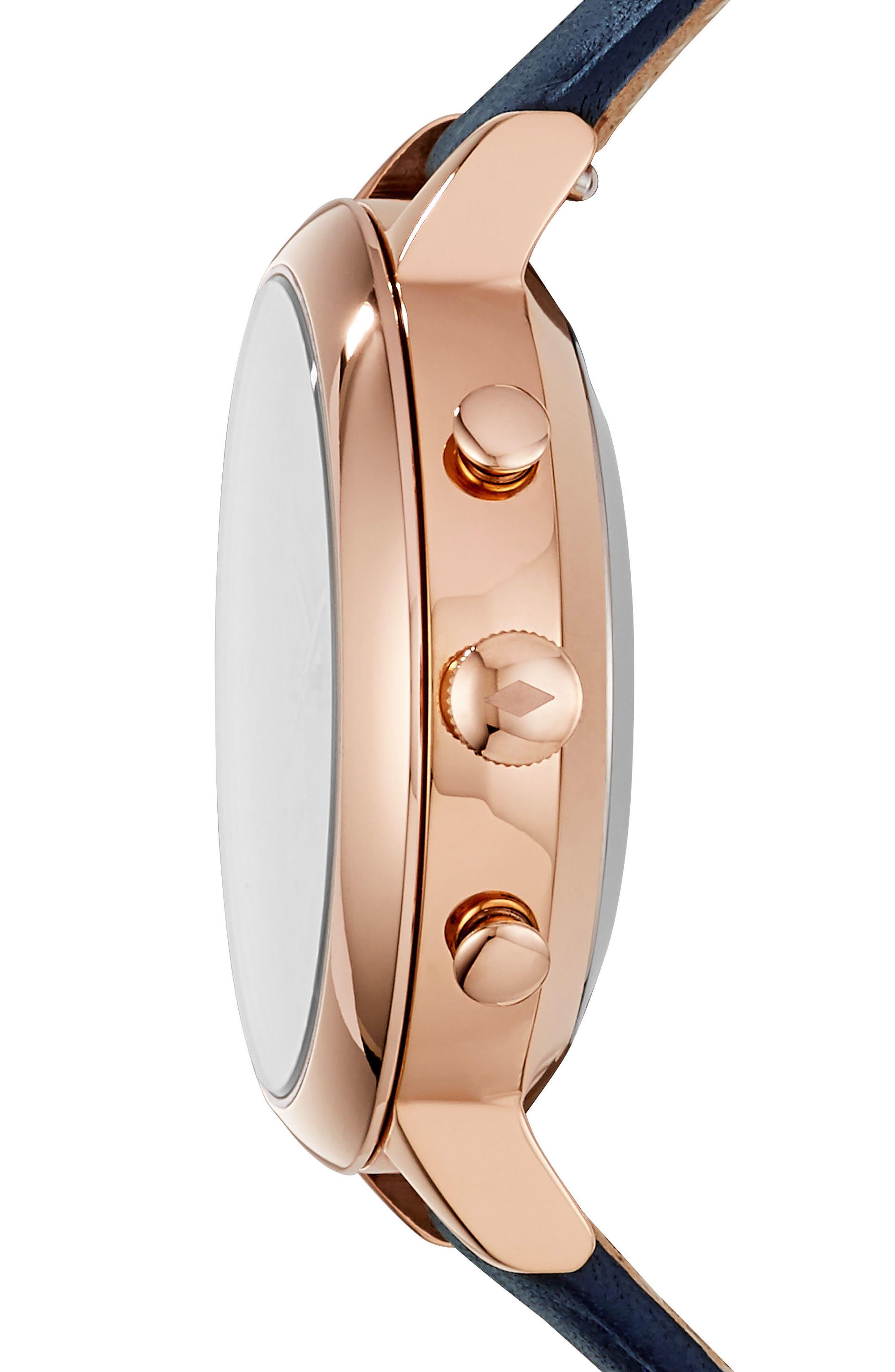 Jacqueline Leather Strap Hybrid Smart Watch, 36mm,                             Alternate thumbnail 2, color,                             Blue/ White/ Rose Gold