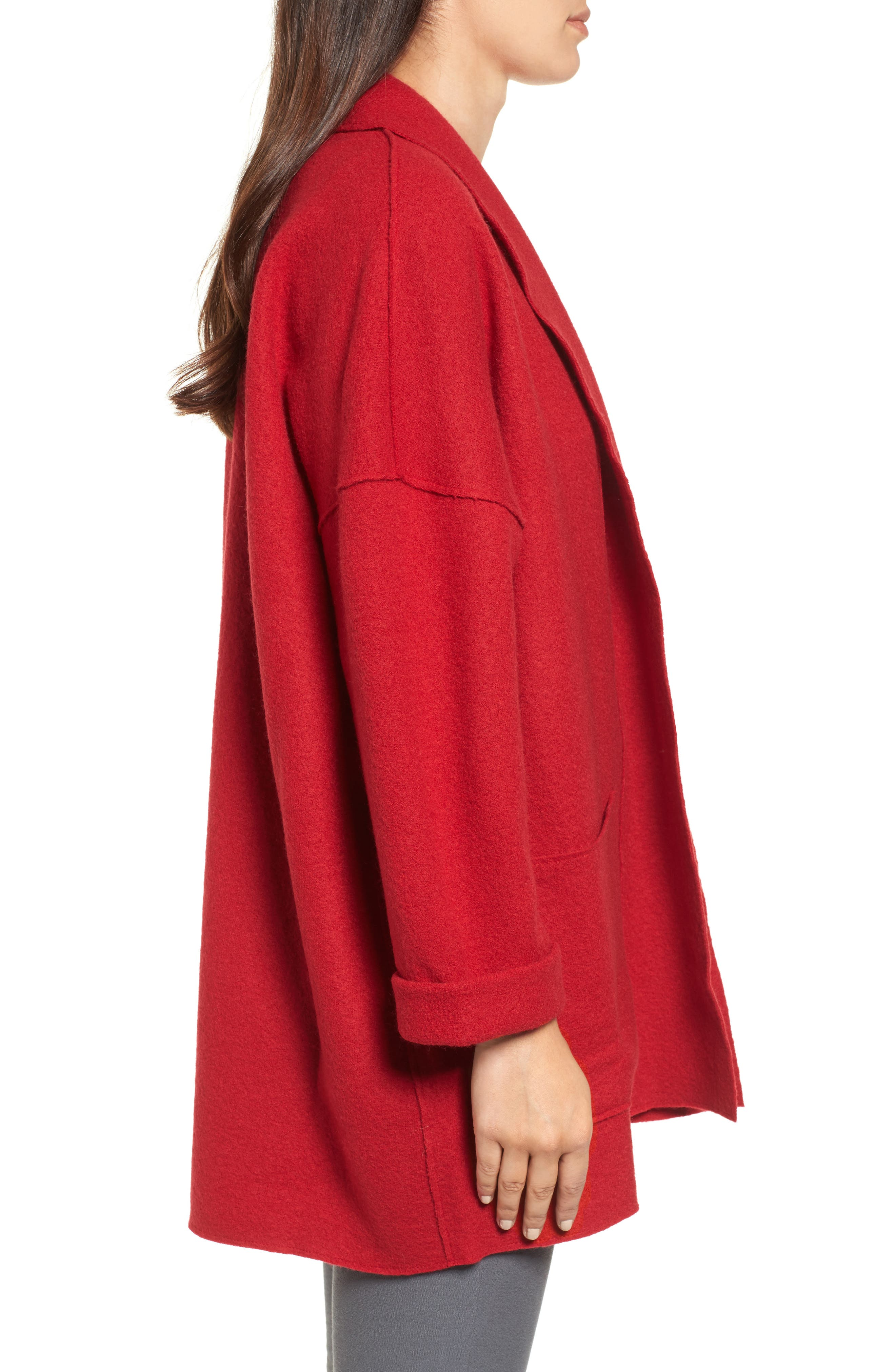 Boiled Wool Shawl Collar Jacket,                             Alternate thumbnail 3, color,                             Lacquer