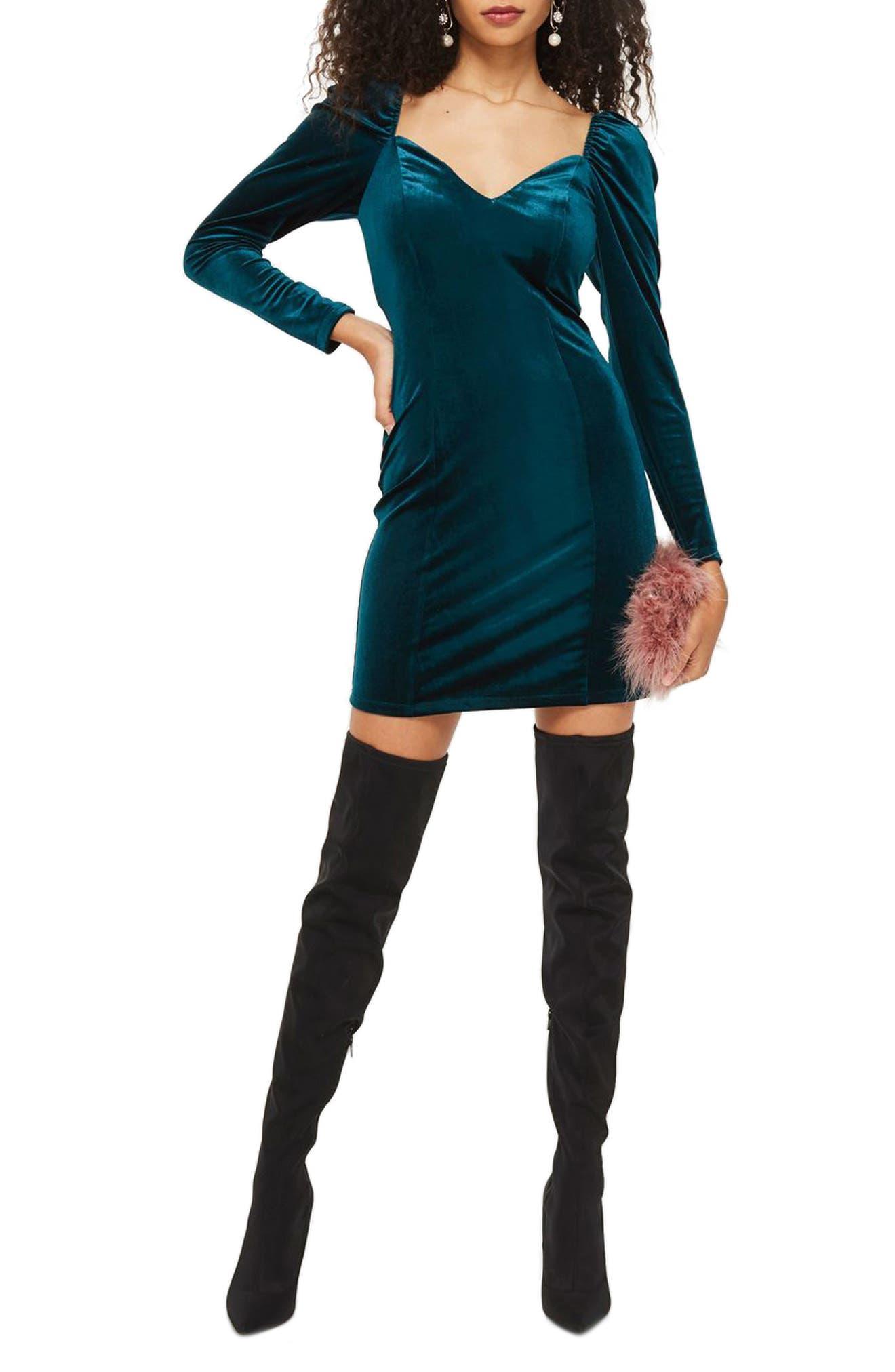 Velvet Sweetheart Neck Body-Con Dress,                         Main,                         color, Teal