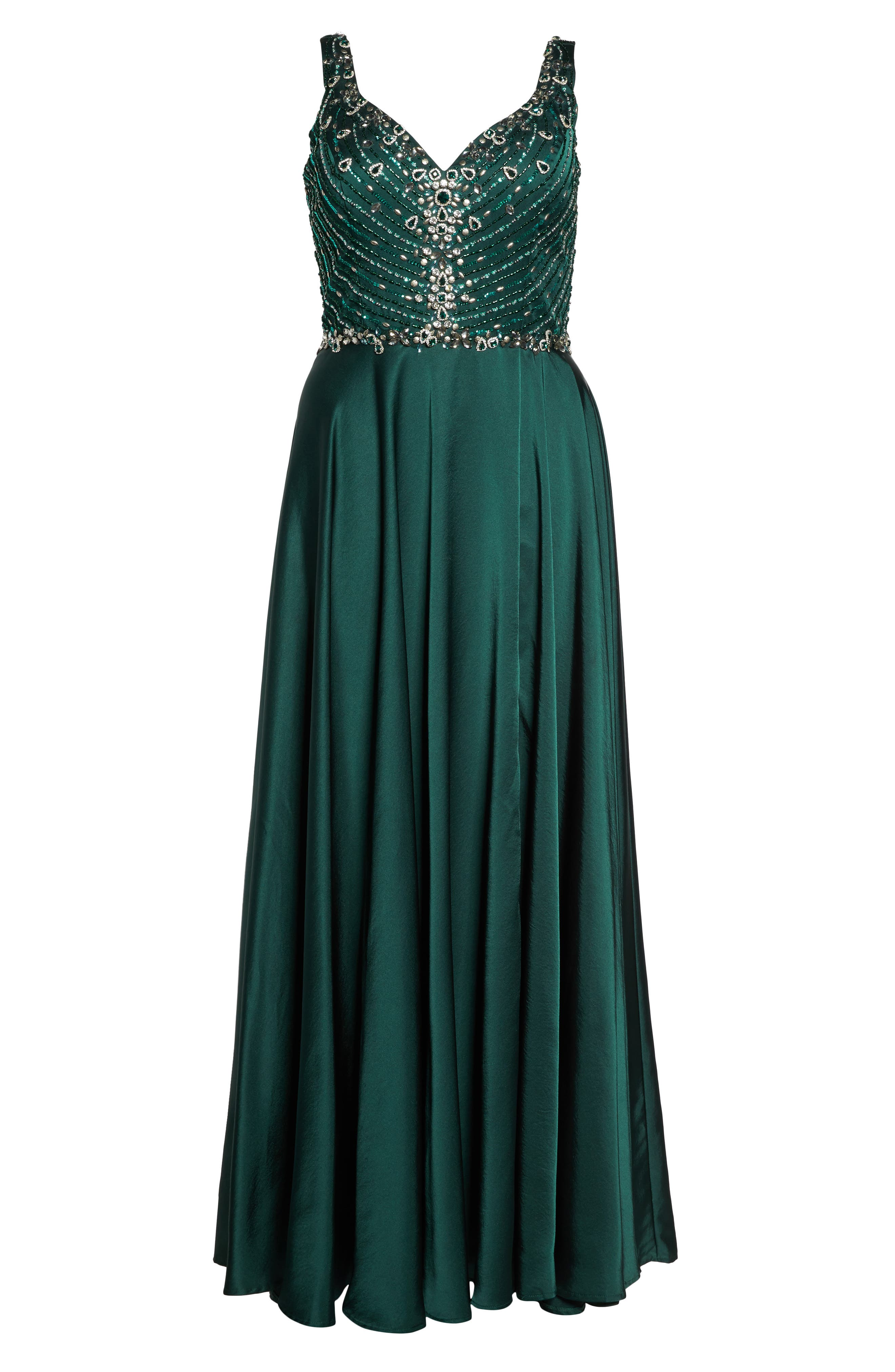 Beaded Bodice Gown,                             Alternate thumbnail 6, color,                             Emerald