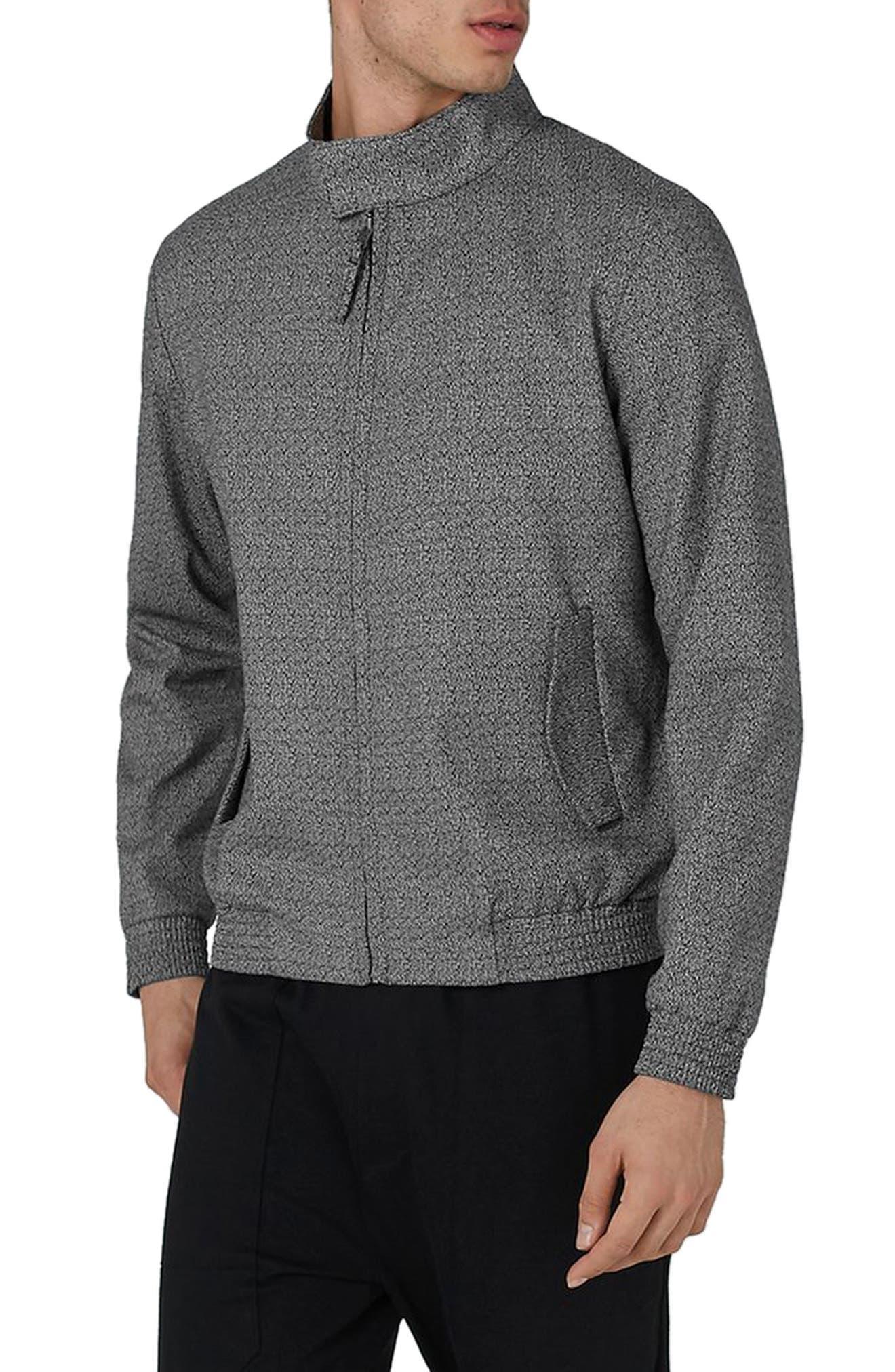 Main Image - Topman Textured Harrington Jacket
