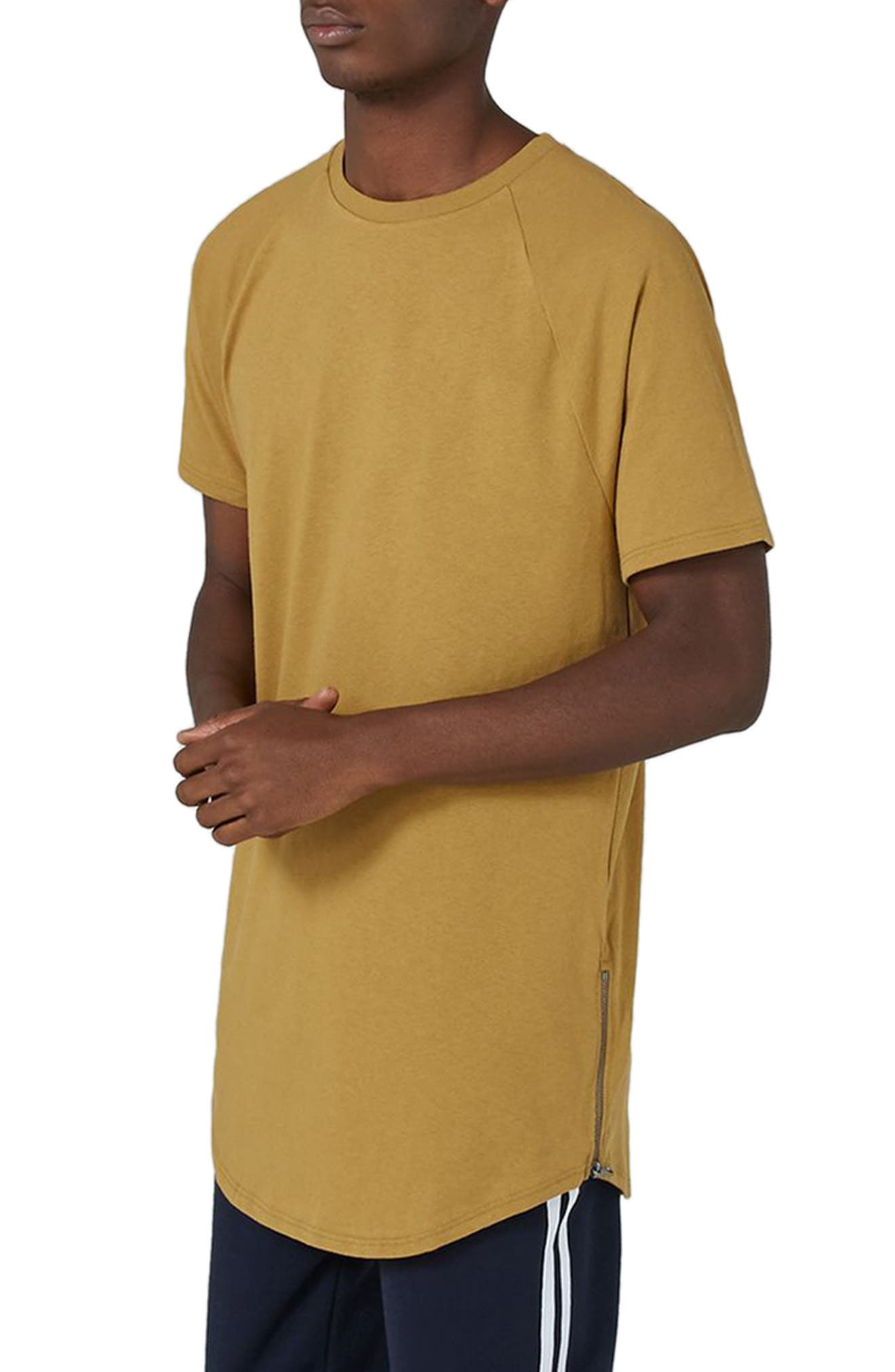 Side Zip Longline T-Shirt,                             Main thumbnail 1, color,                             Yellow