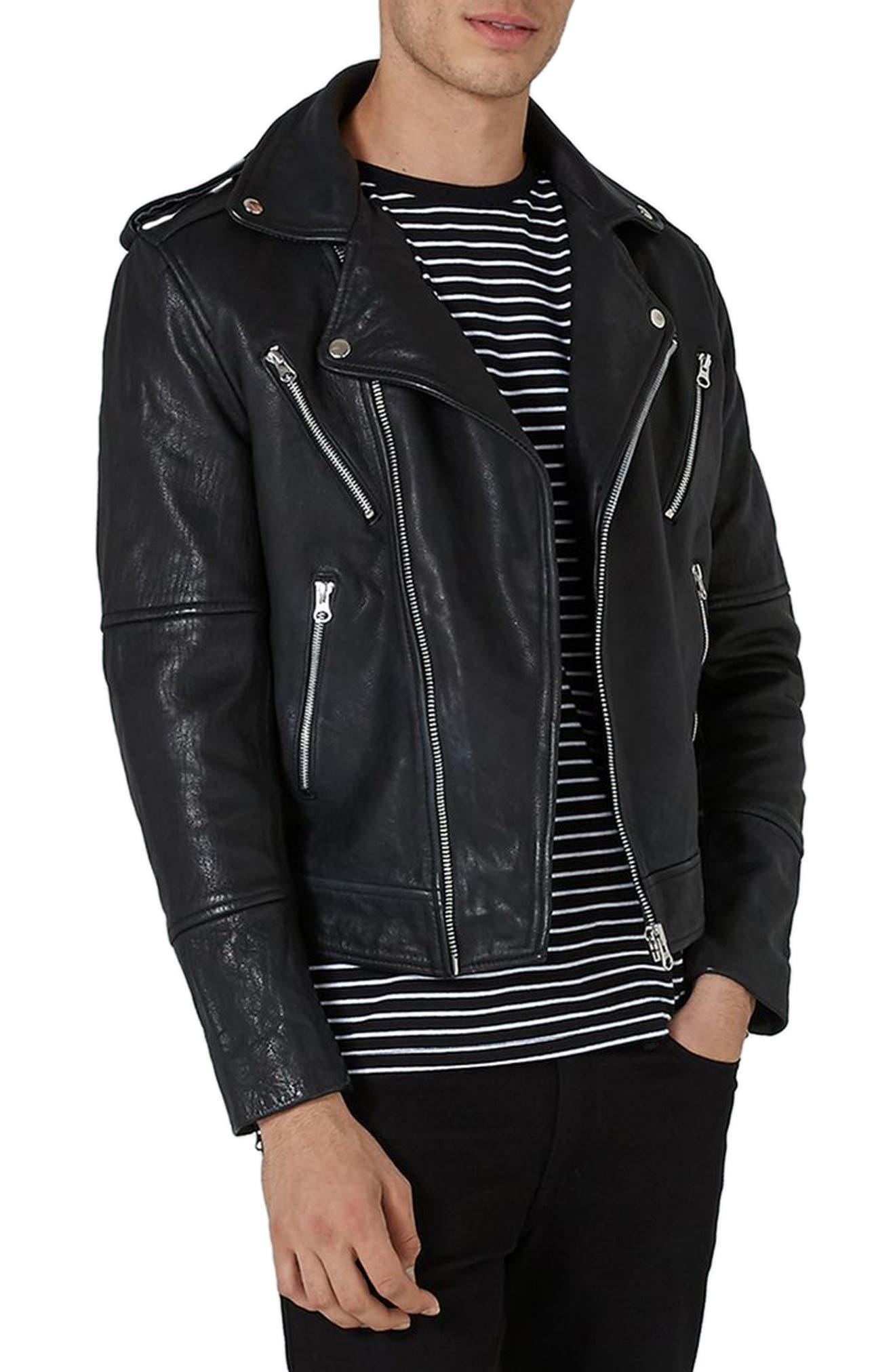 Print Leather Biker Jacket,                         Main,                         color, Black Multi