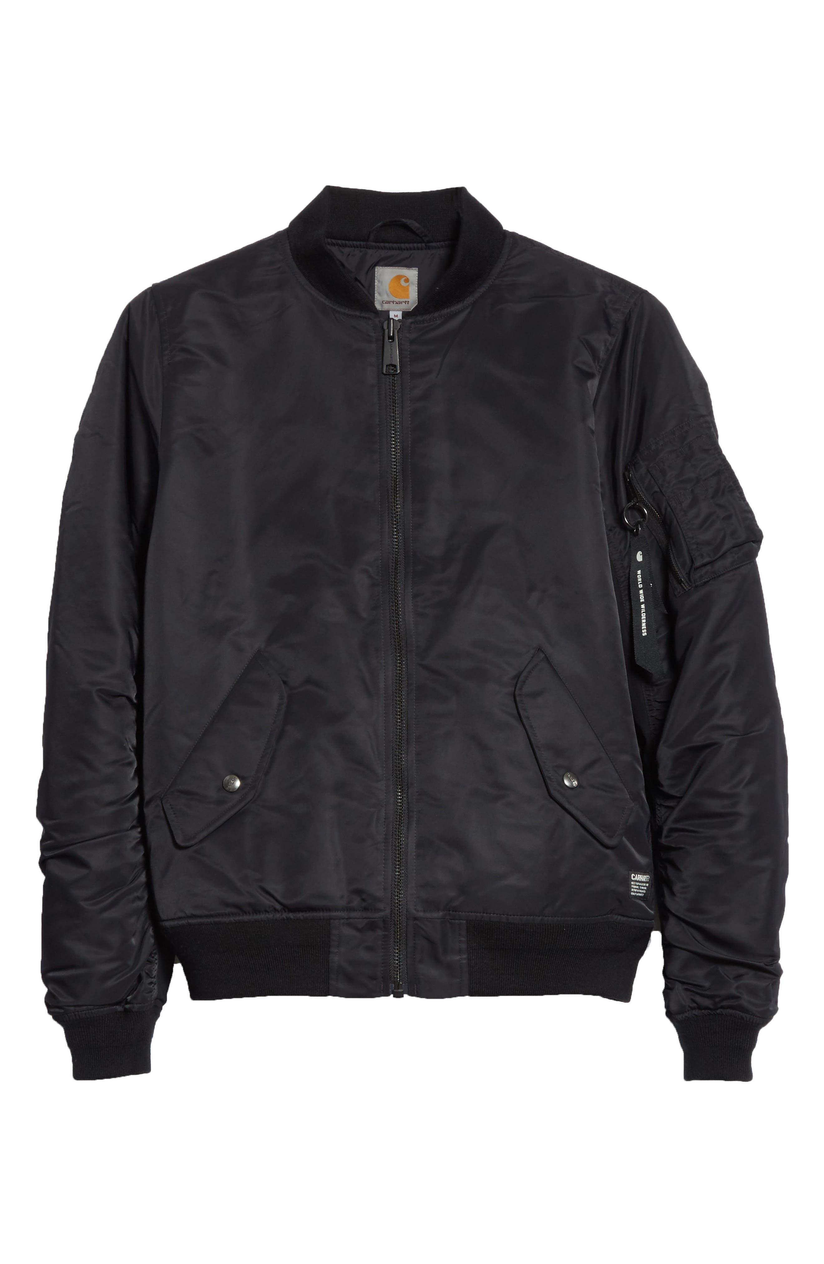 Ashton Bomber Jacket,                             Alternate thumbnail 6, color,                             Black/ Black