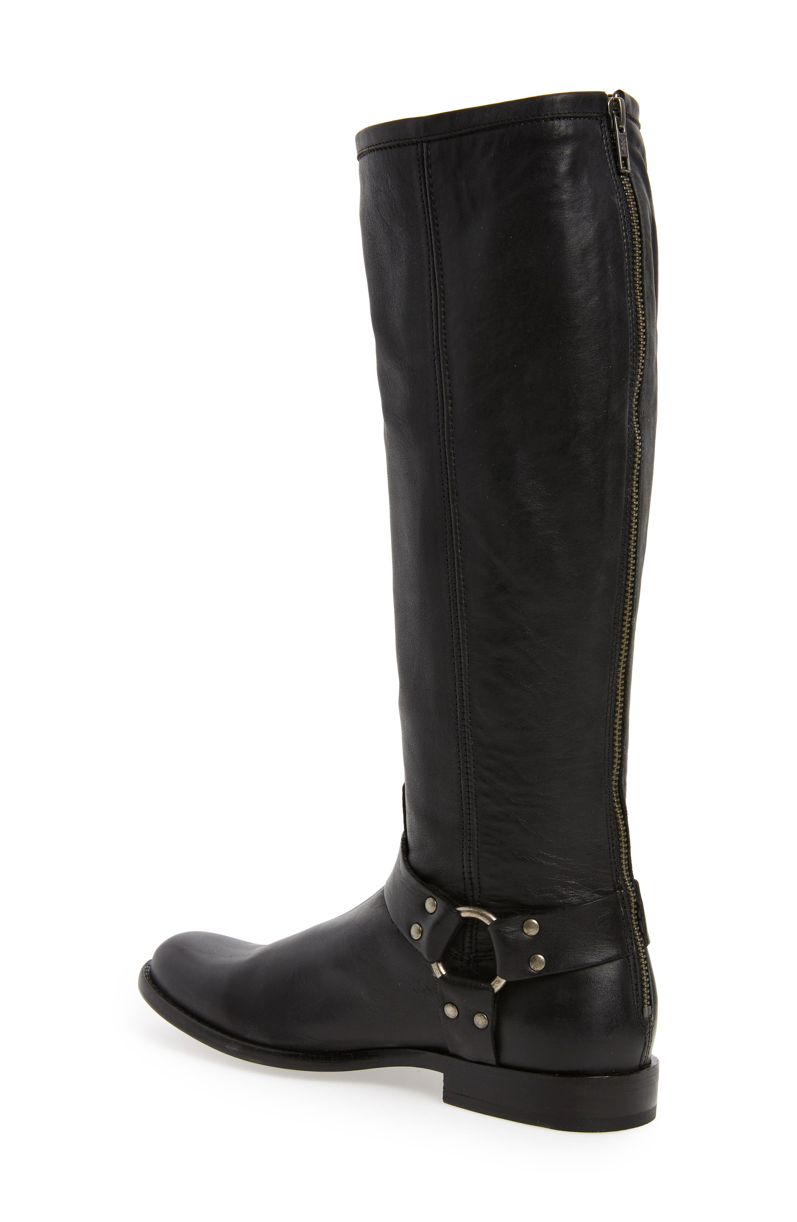 Phillip Harness Tall Boot,                             Alternate thumbnail 2, color,                             Black Leather