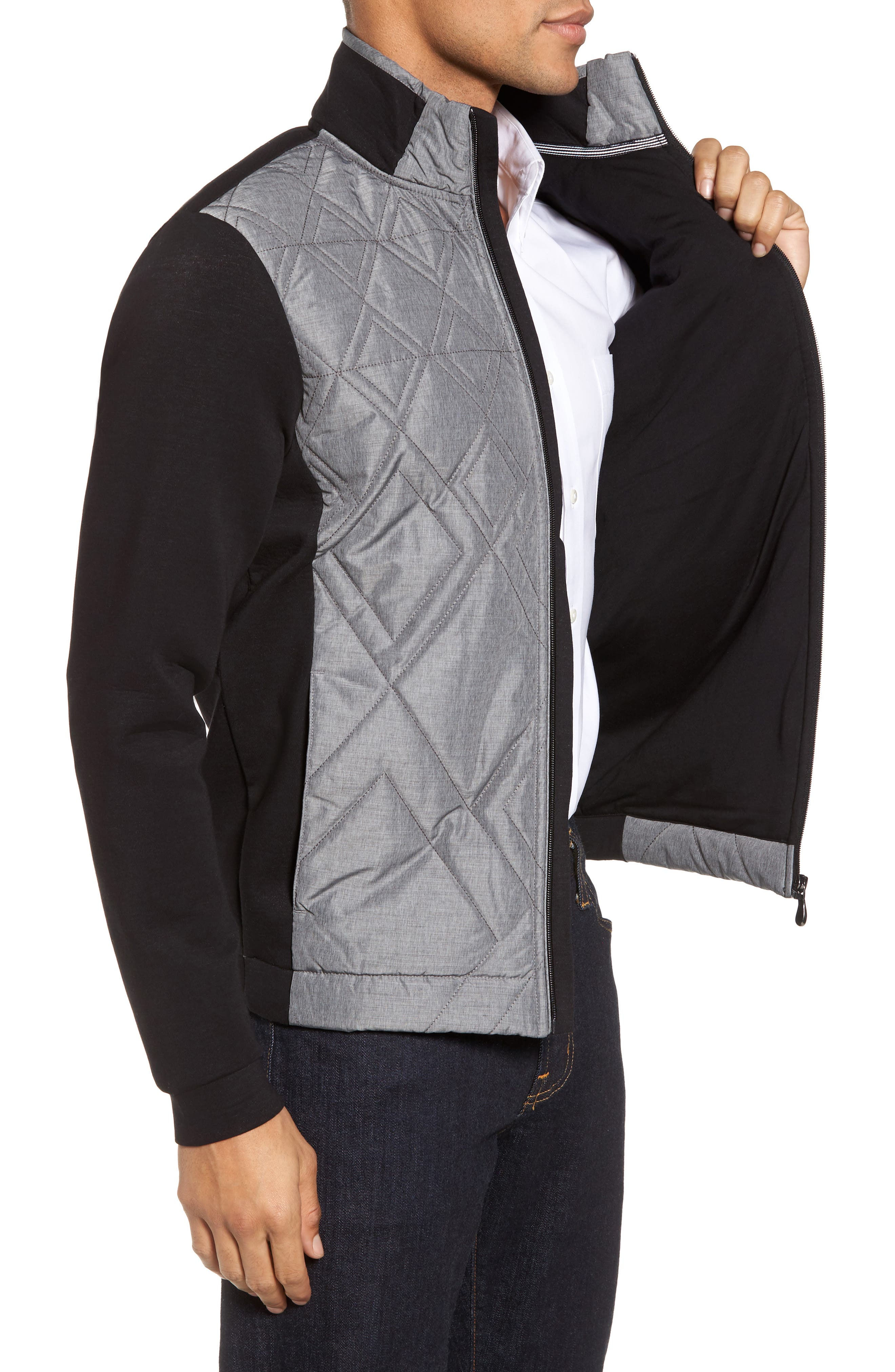 C-Pizzoli Quilted Jacket,                             Alternate thumbnail 3, color,                             Black