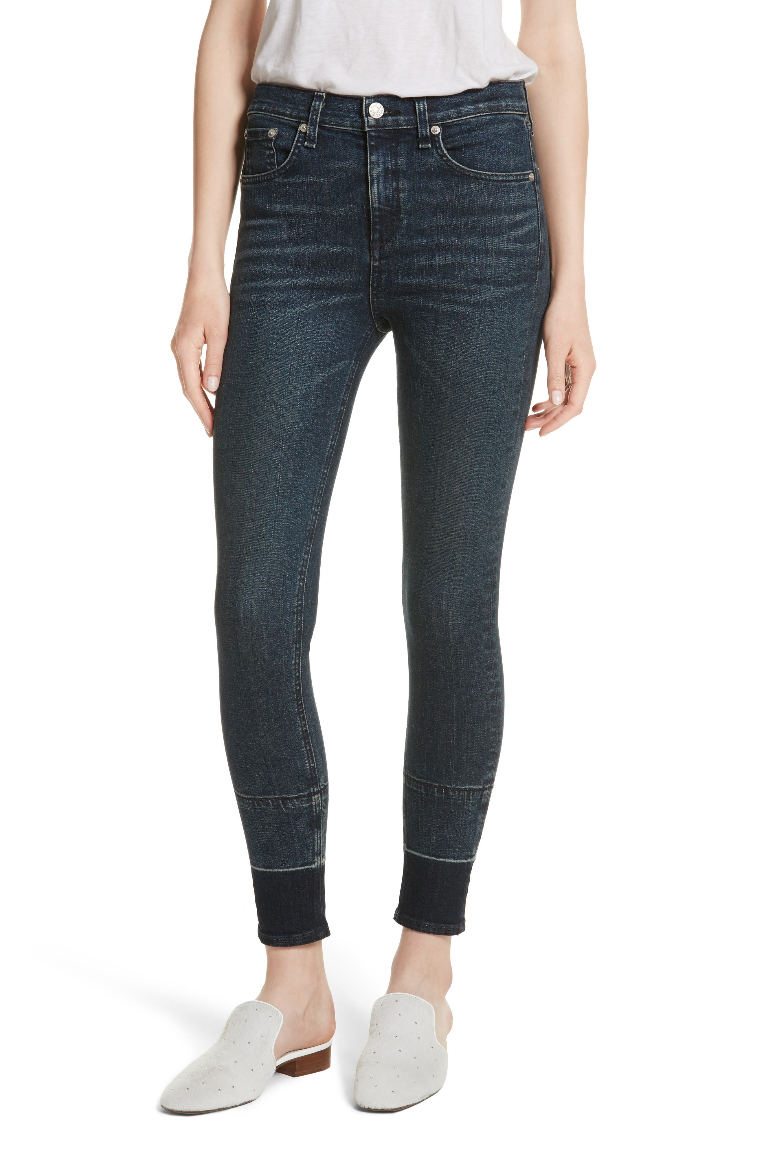 High Waist Ankle Skinny Jeans,                         Main,                         color, Vee