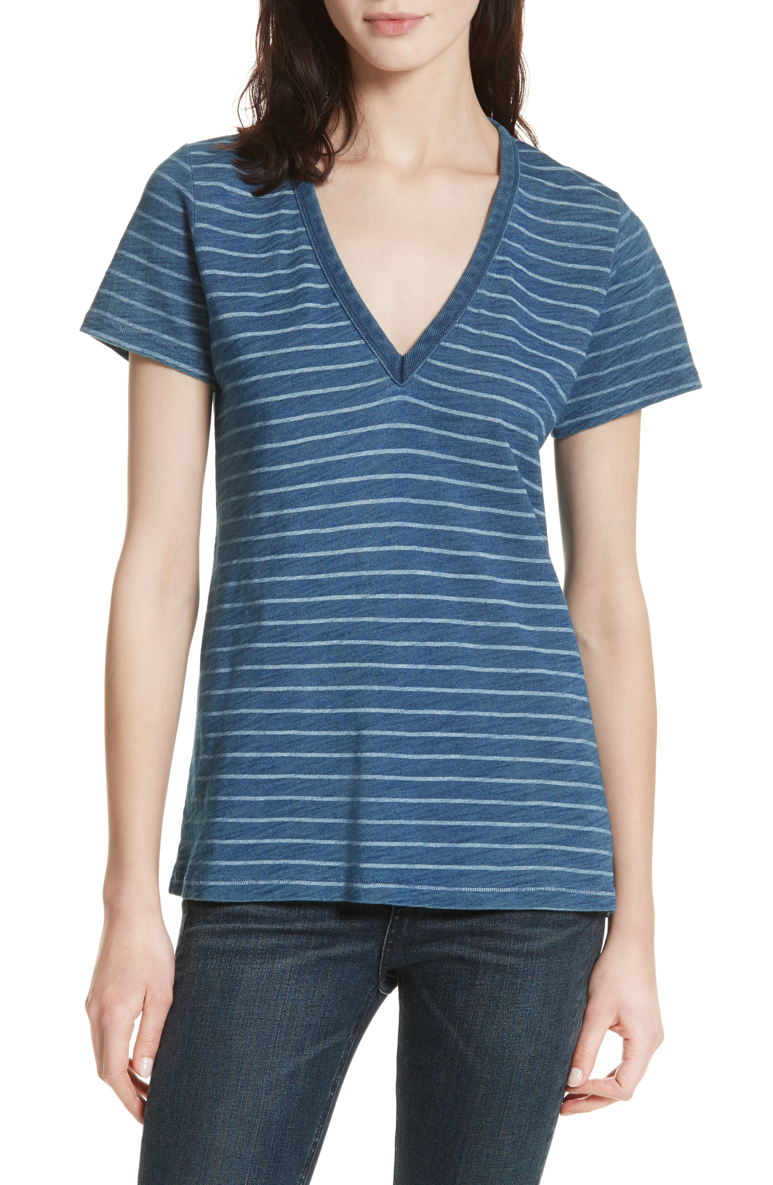 The Vee Indigo Bleach Stripe Tee,                             Main thumbnail 1, color,                             Indigo Stripe