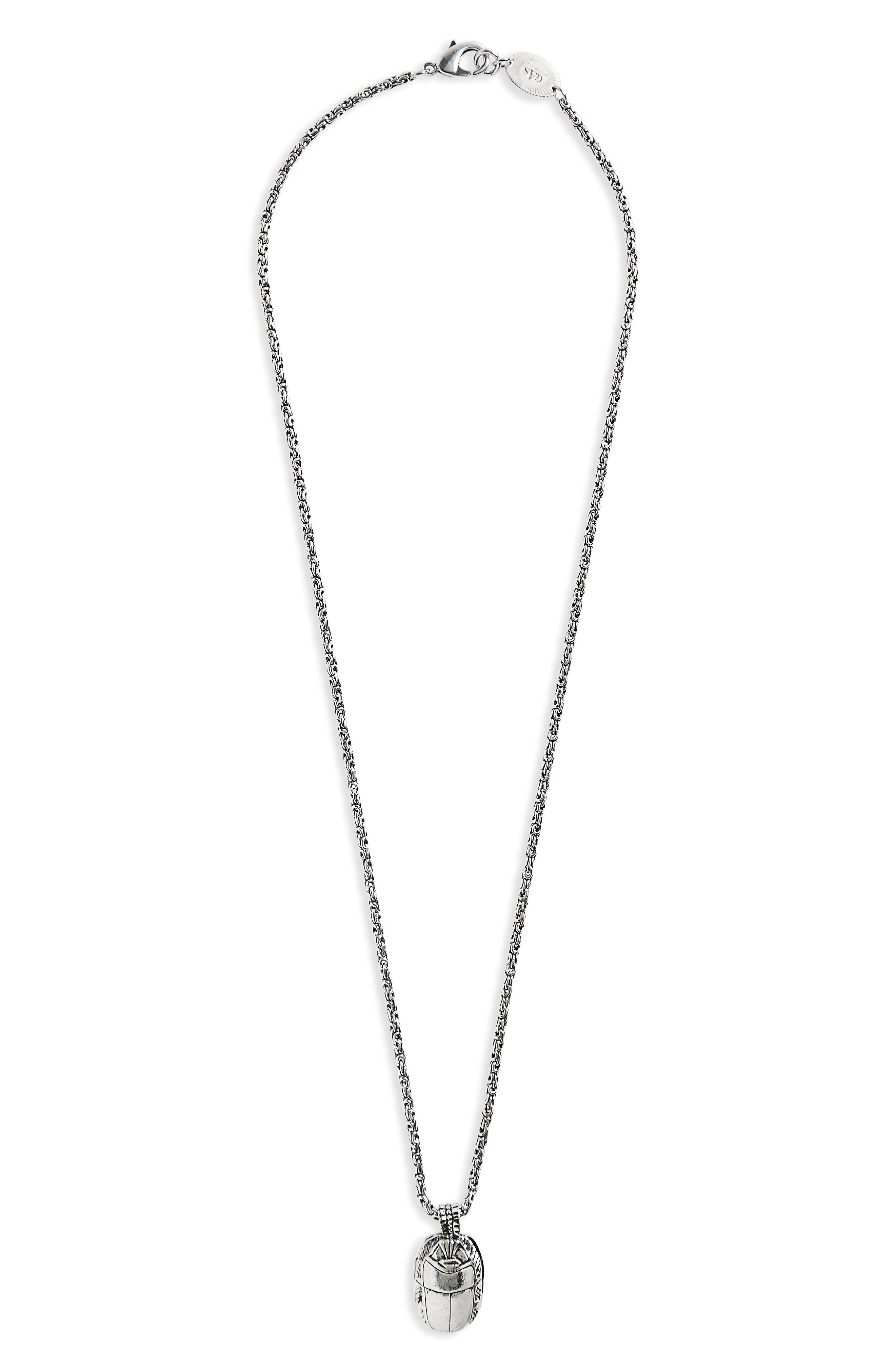 Scrabee Pendant Necklace,                             Main thumbnail 1, color,                             Silver
