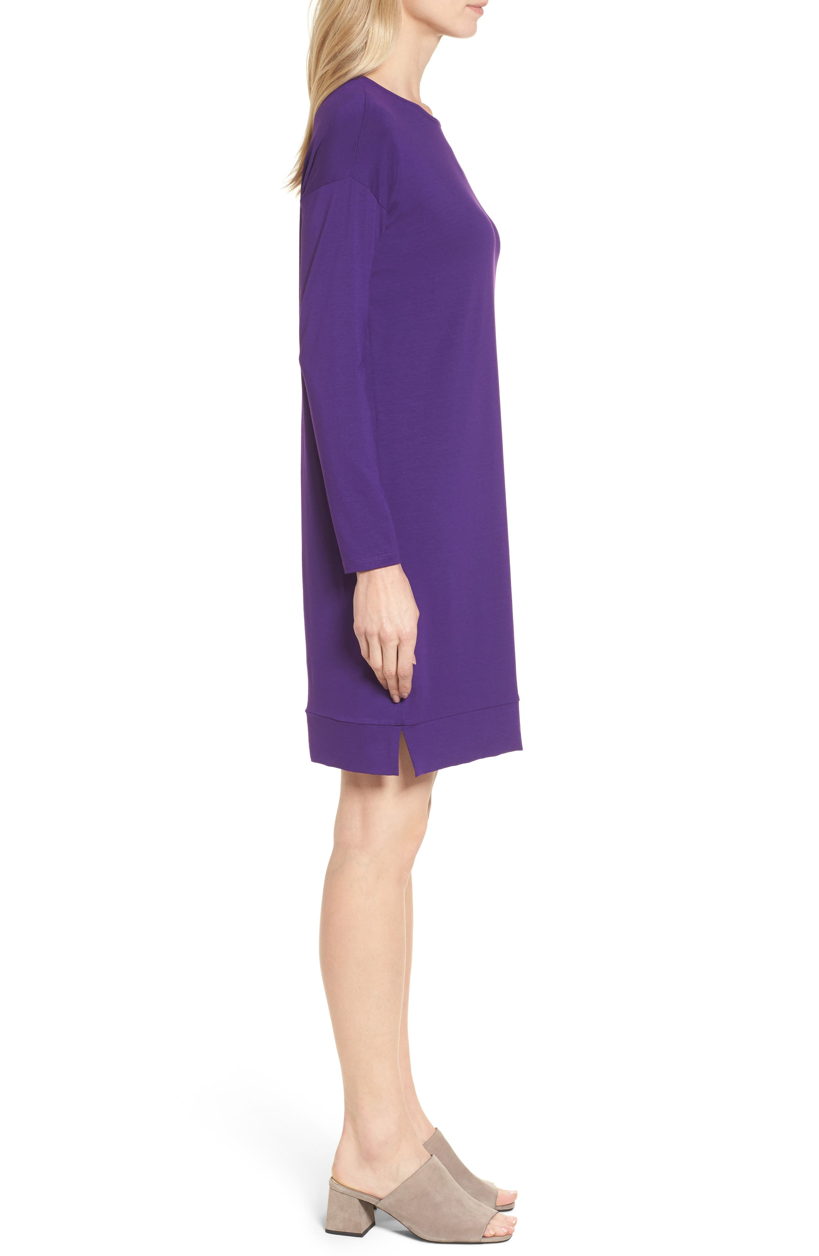 Alternate Image 3  - Eileen Fisher Long Sleeve Jersey Shift Dress (Regular & Petite)