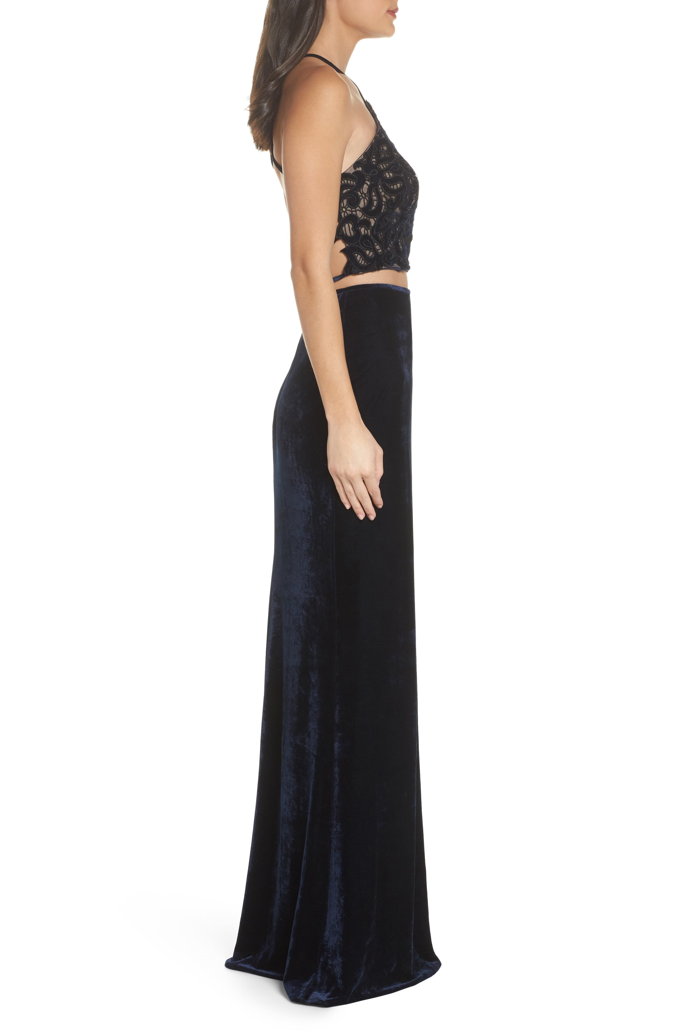 Two-Piece Embroidered Velvet Gown,                             Alternate thumbnail 3, color,                             Navy