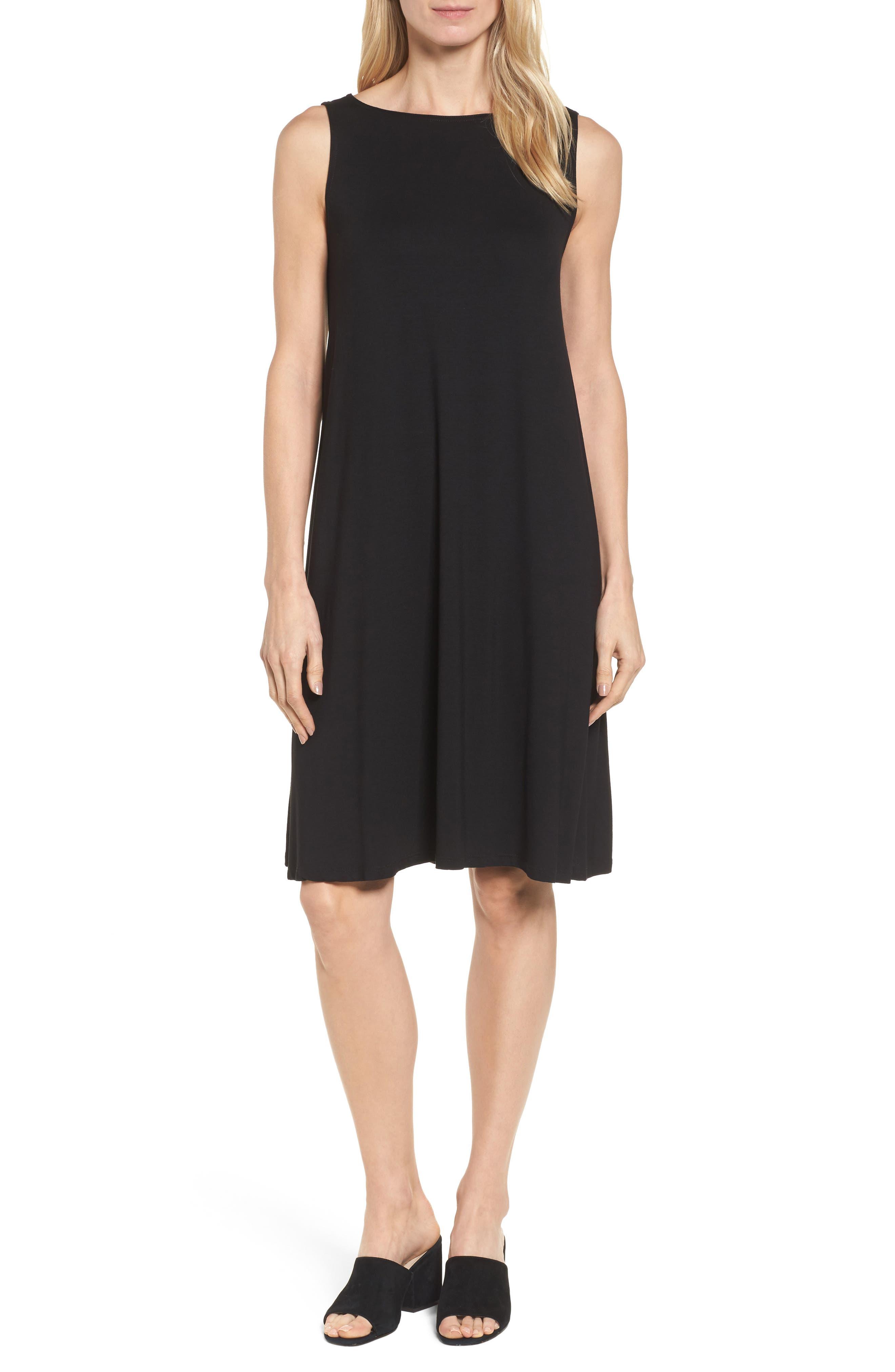 Jersey Shift Dress,                         Main,                         color, Black