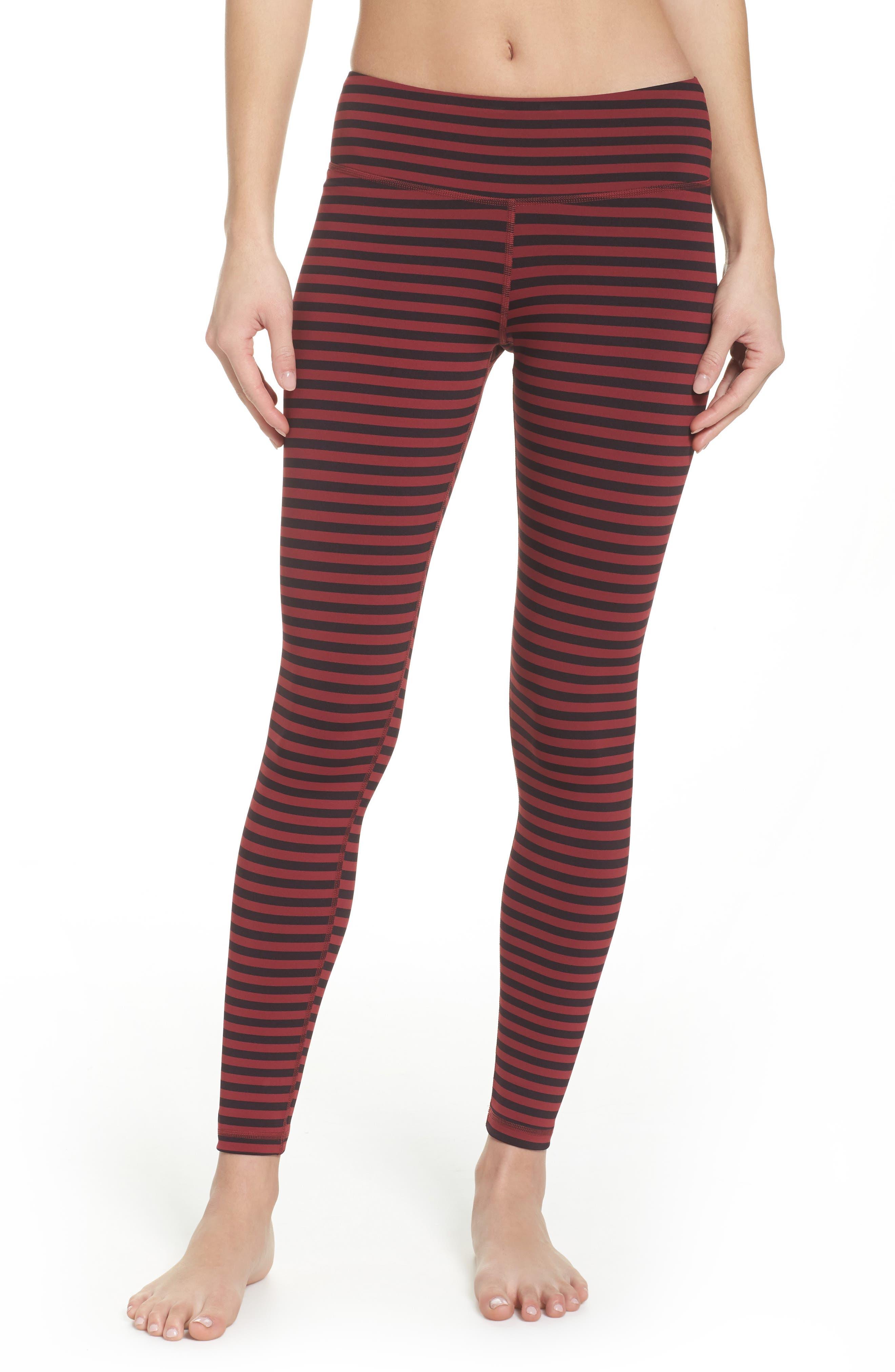 Stripe 7/8 Leggings,                         Main,                         color, Urban Maroon/ Black