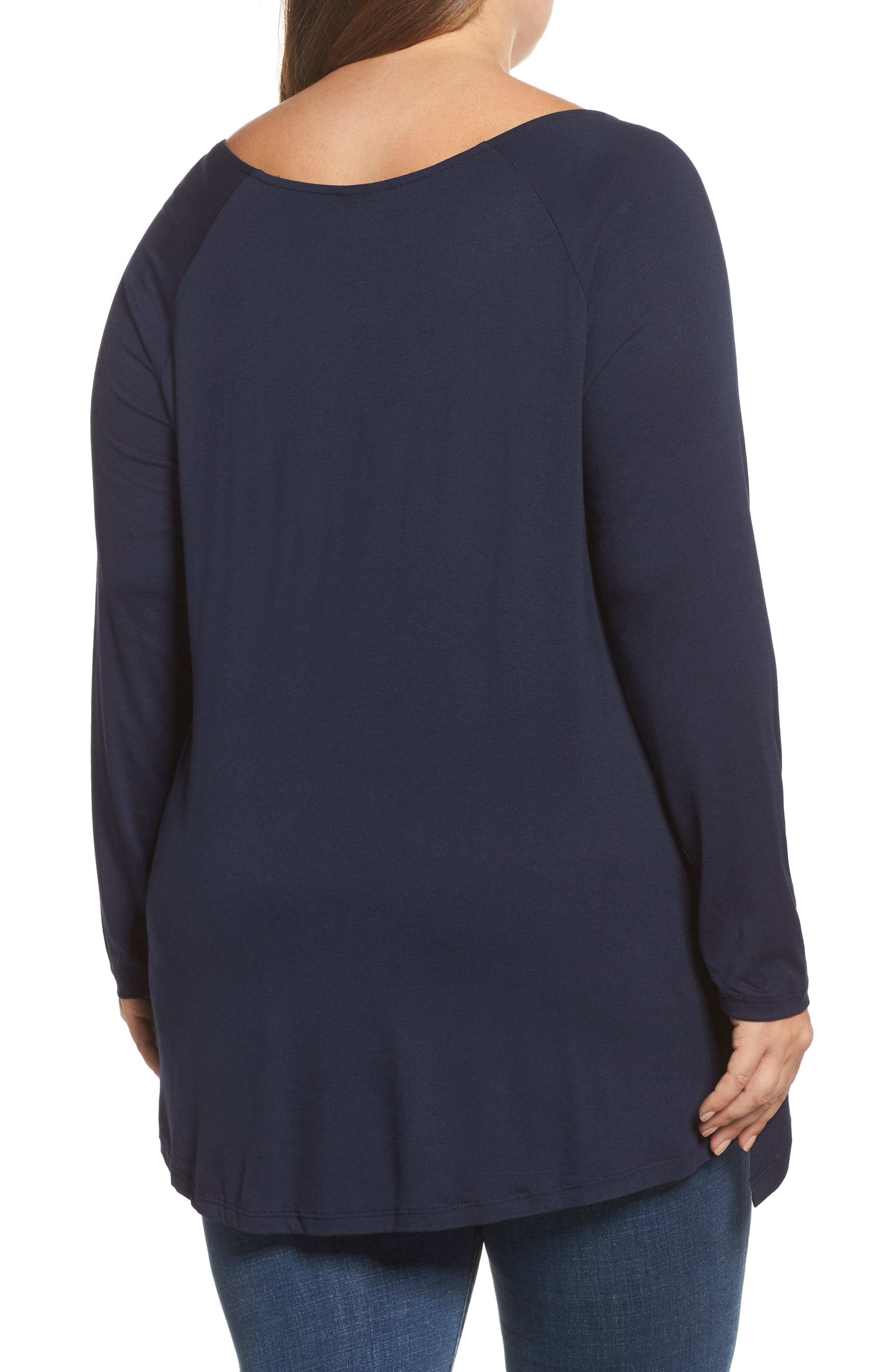 Layered Knit Top,                             Alternate thumbnail 2, color,                             Navy