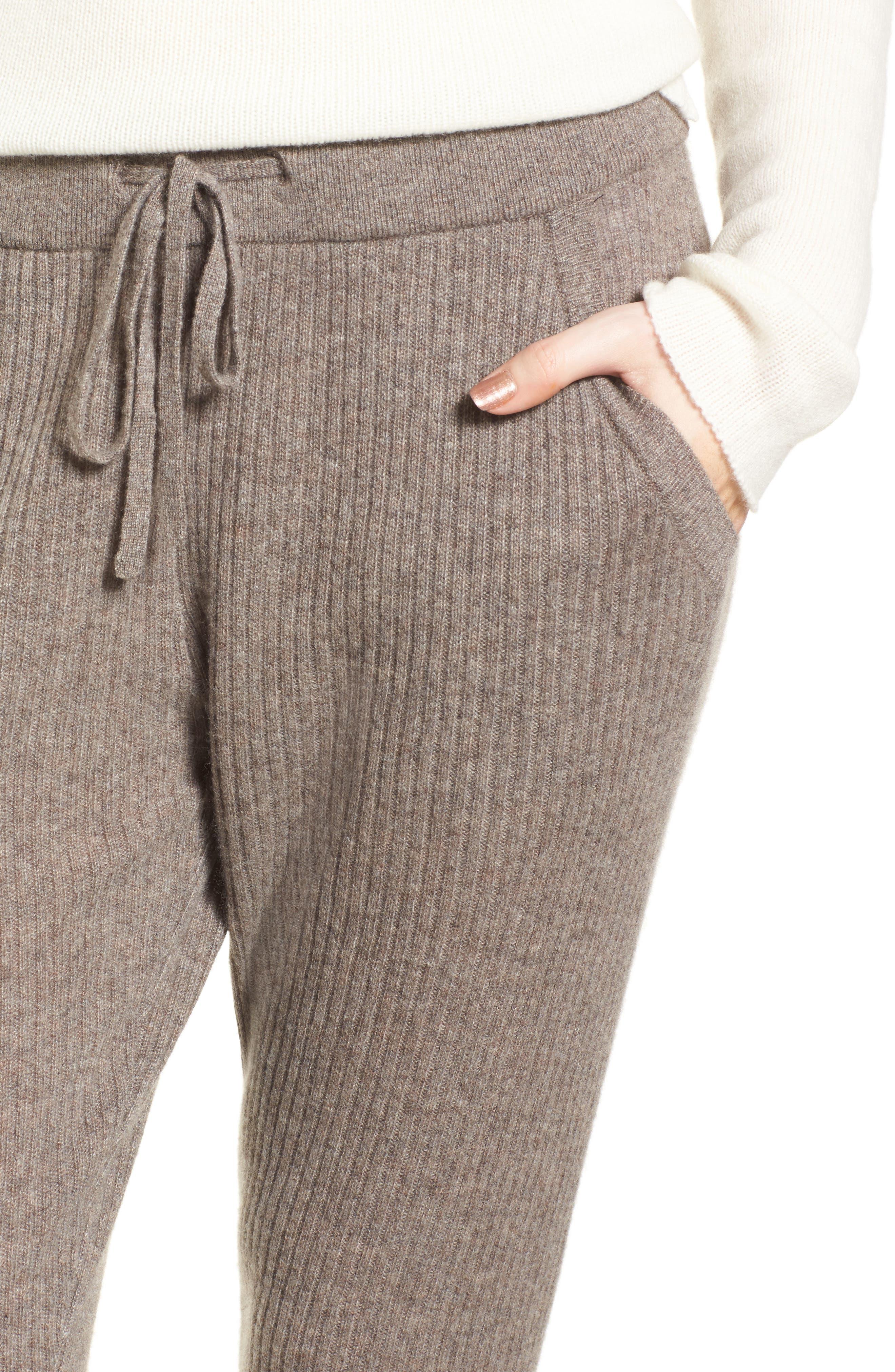 Ribbed Cashmere Leggings,                             Alternate thumbnail 4, color,                             Taupe Melange