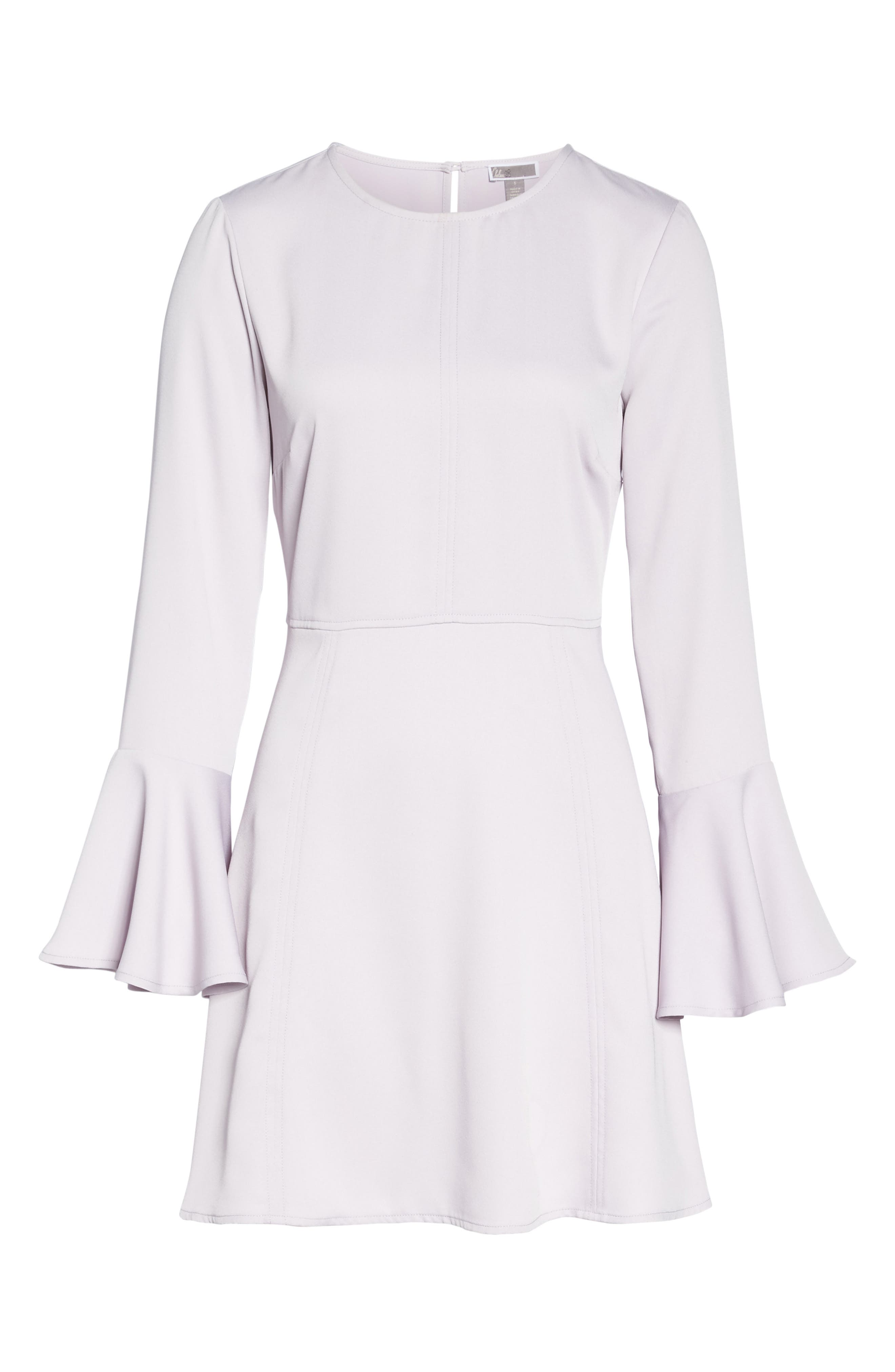 Bell Sleeve Fit & Flare Dress,                             Alternate thumbnail 6, color,                             Purple Thistle